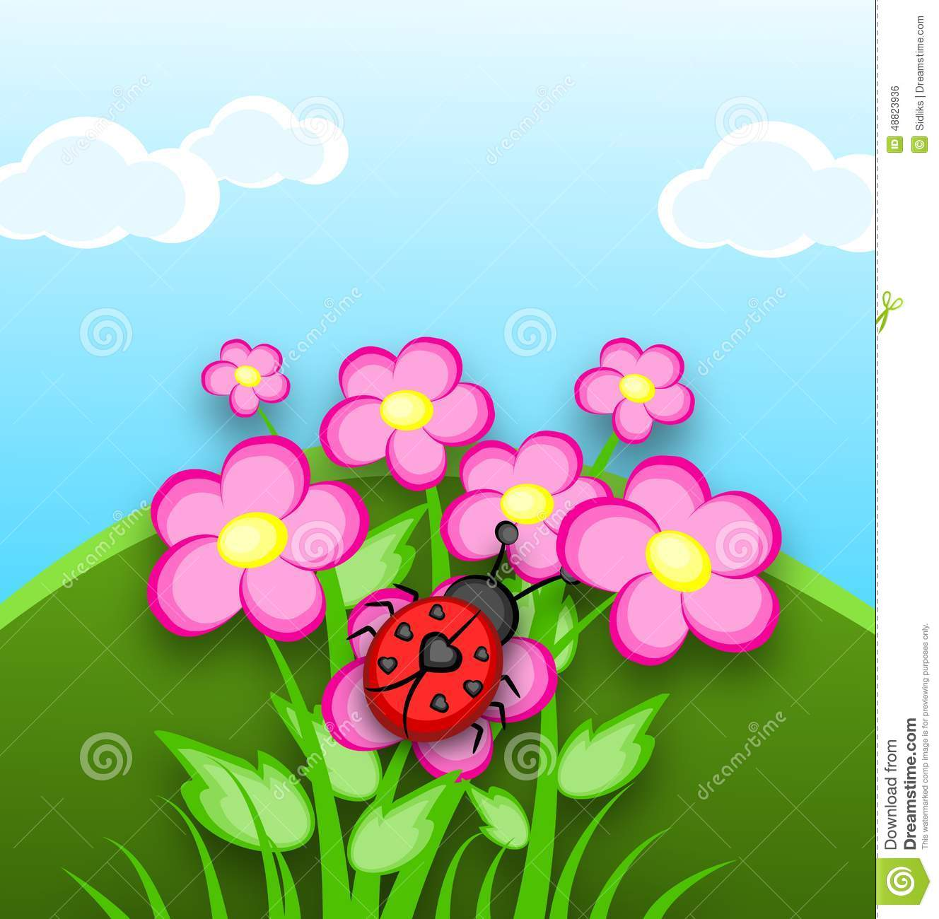 Cartoon ladybug with seven black heart on back sittion on pink flowers ...