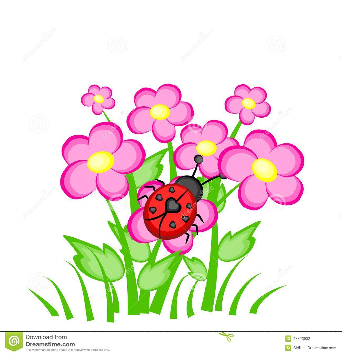 Cartoon Ladybug On Flowers Stock Illustration Illustration Of