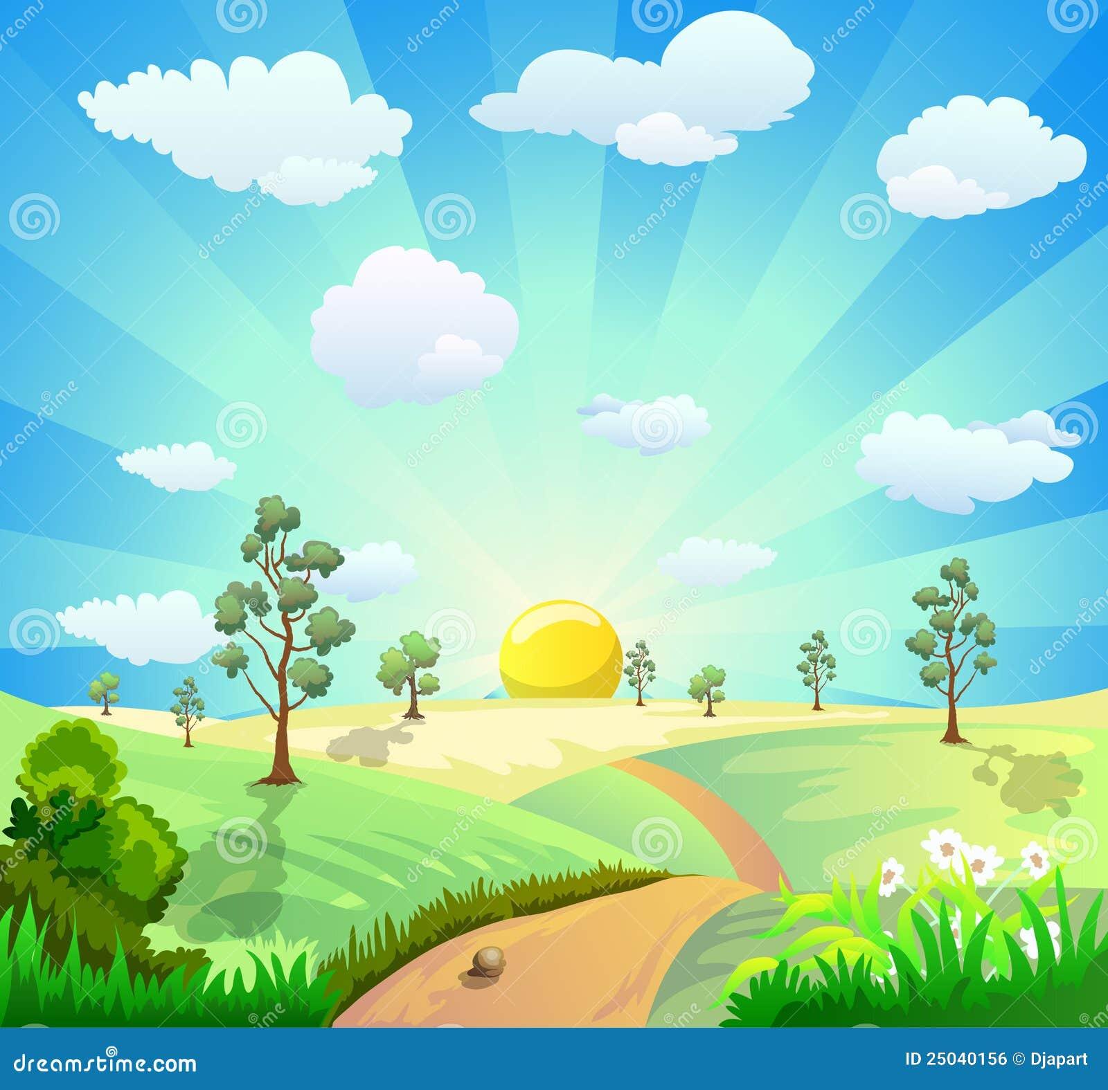 Cartoon Landscape Background Royalty Free Stock Image