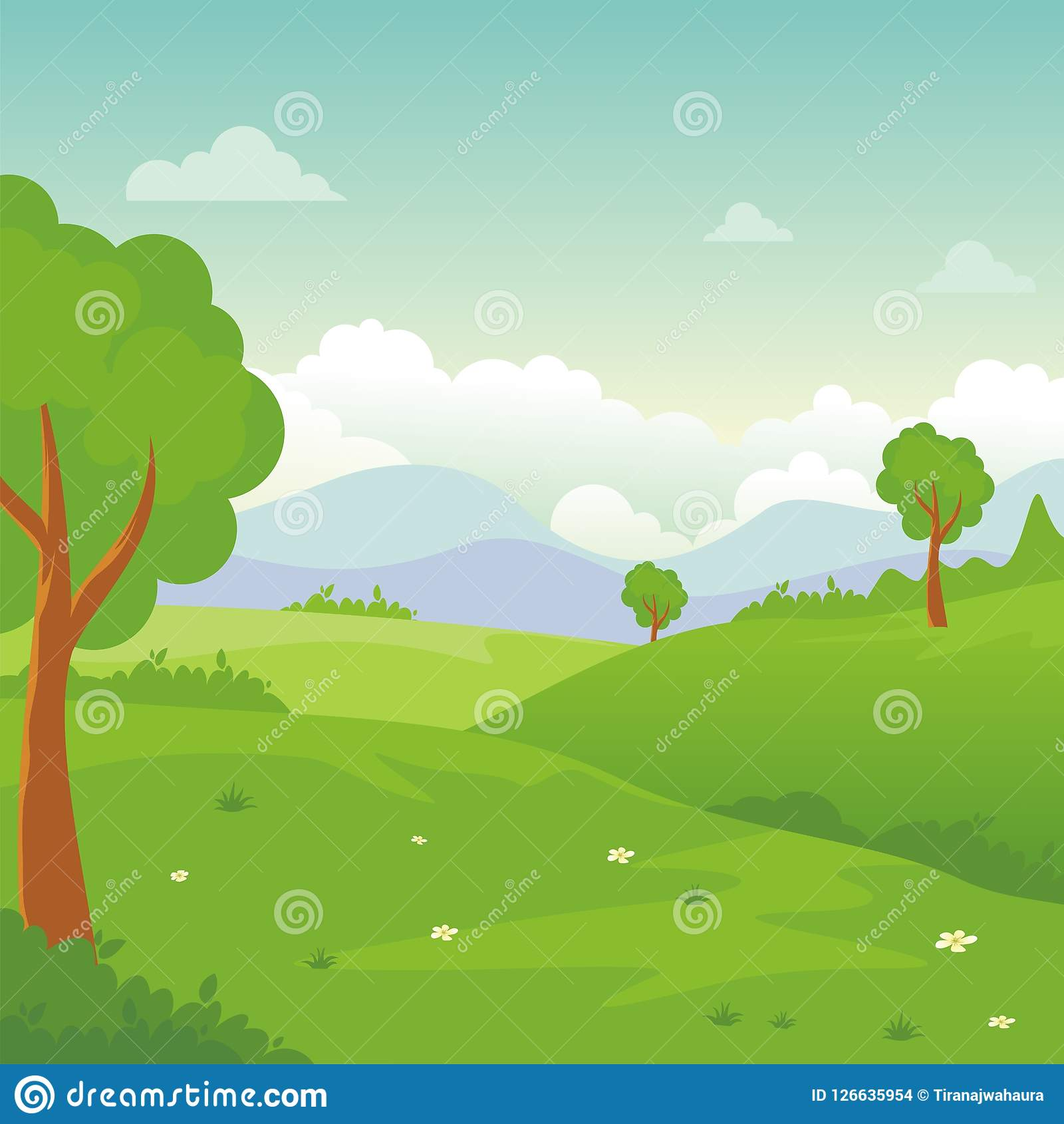 cartoon landscape, with Lovely and cute scenery design