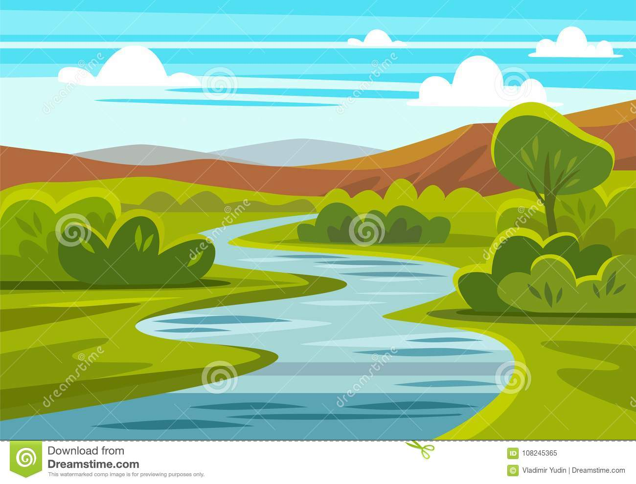 Cartoon Landscape With Mountains, River And Trees. Stock