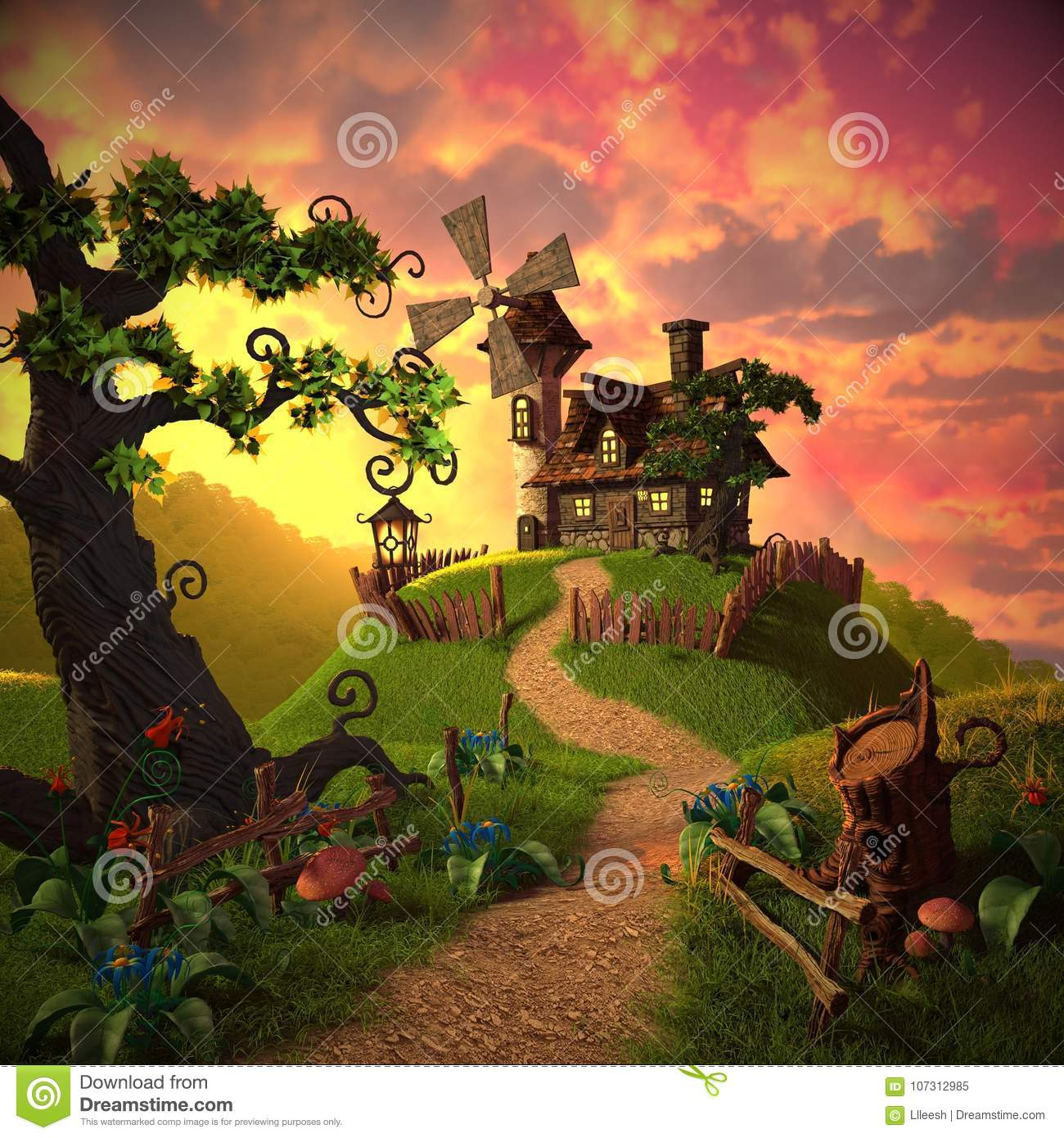 Cartoon landscape with a picture of a house and a windmill, as well as plants and wood.