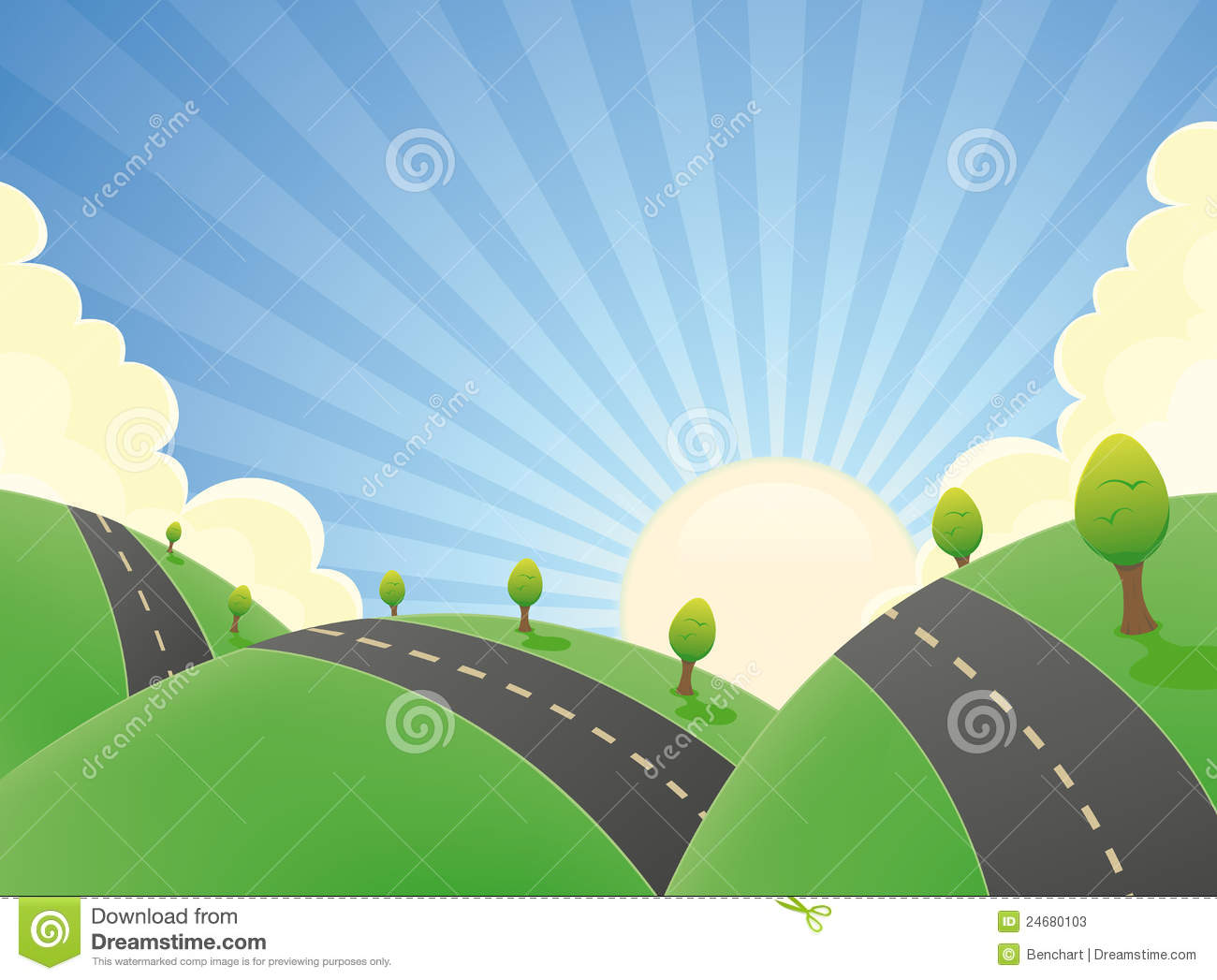 Illustration of a cartoon rounded road snaking in a spring or summer ...