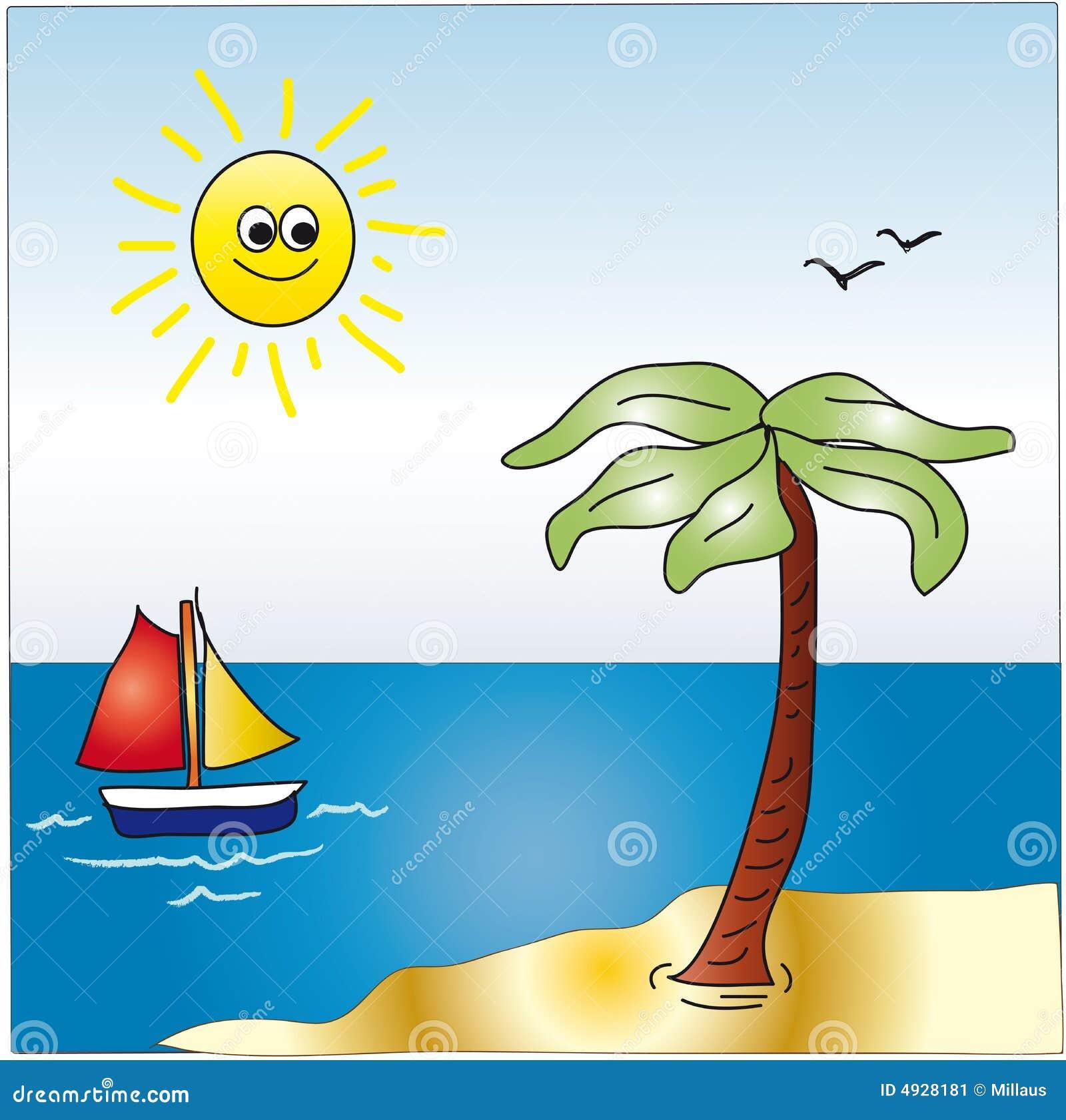Cartoon Landscape Of Sea Stock Illustration Image Of