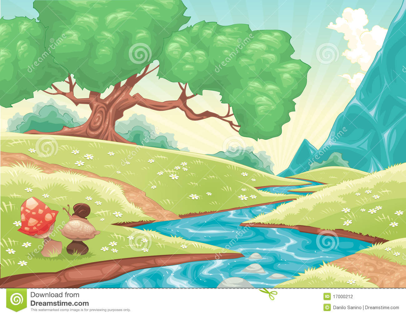 Cartoon Landscape With Stream Stock Photography - Image: 17000212