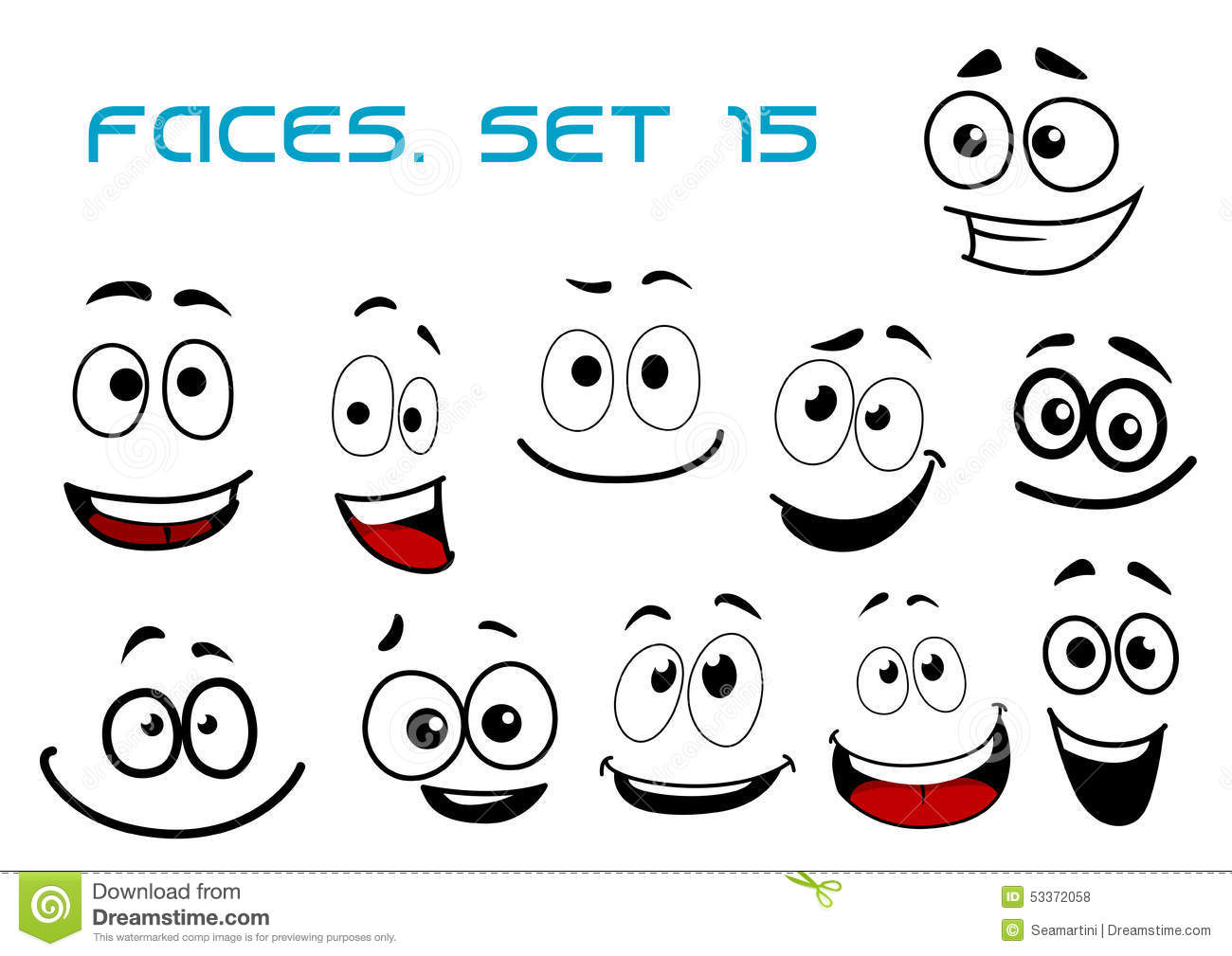 Cartoon Laughing Faces With Googly Eyes Stock Vector Image 53372058