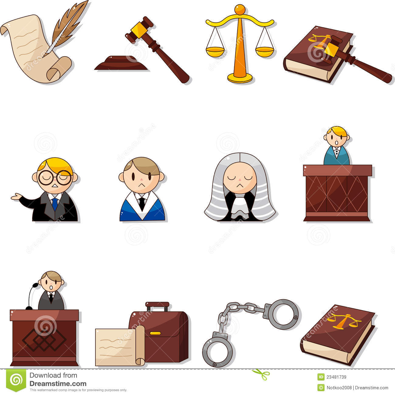 Cartoon law icons royalty free stock images image 23481739