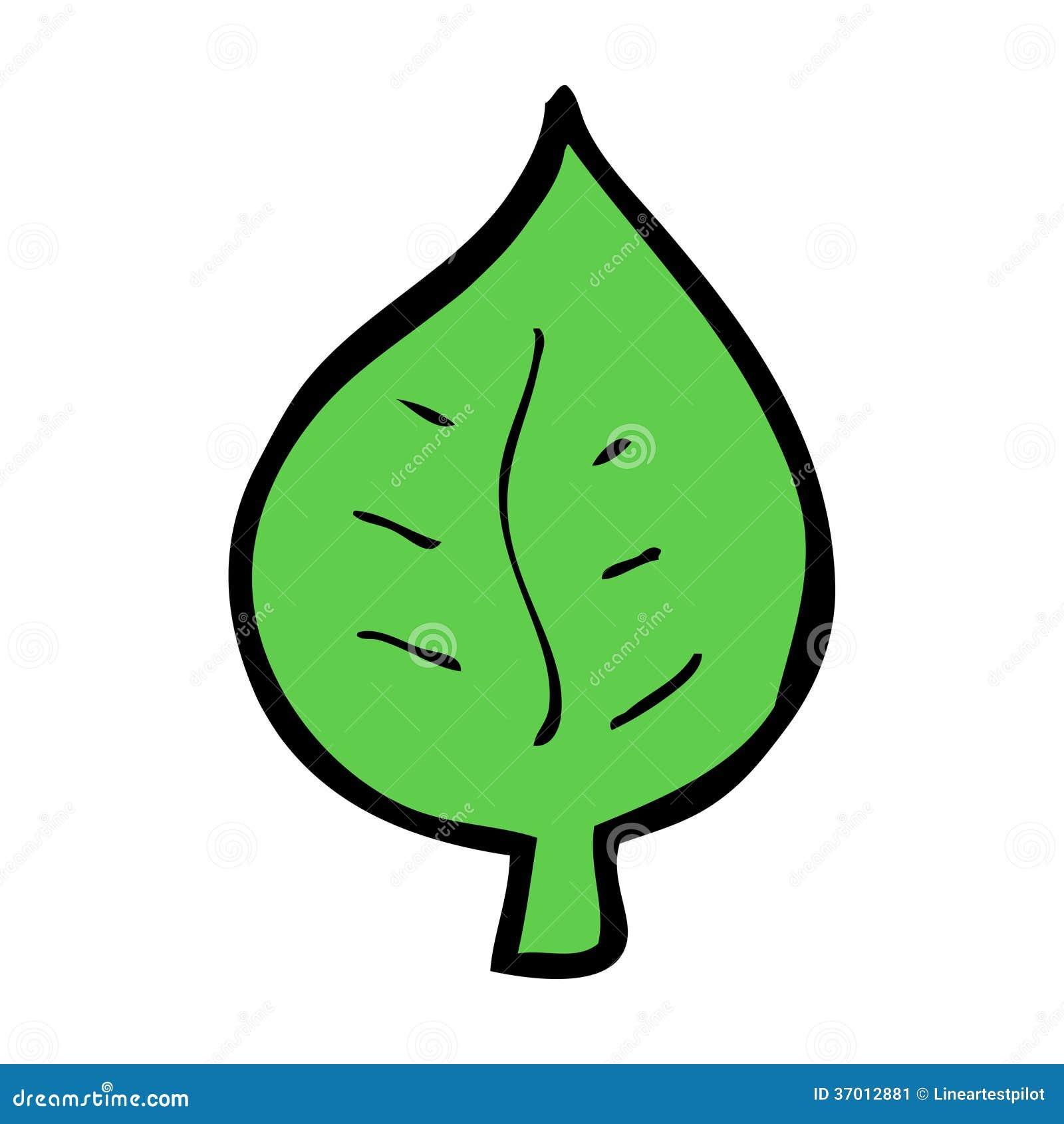 cartoon leaf symbol hand drawn illustration retro style vector available 37012881