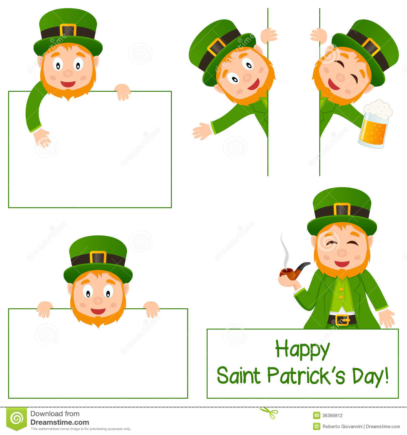 Cartoon Leprechaun And Banners Set Stock Photography - Image: 36366812