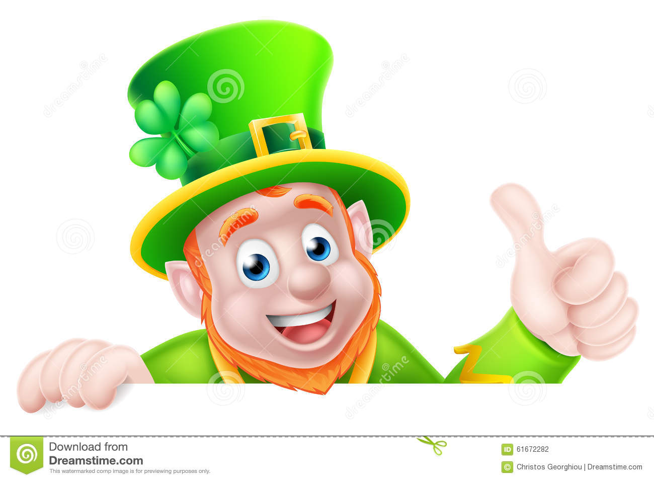 Leprechaun cartoon St Patricks Day character peeking above a sign and ...