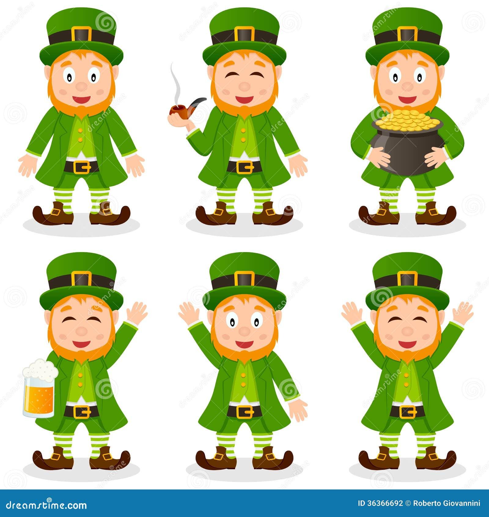 Cartoon Leprechaun St. Patrick S Day Set Stock Vector ...