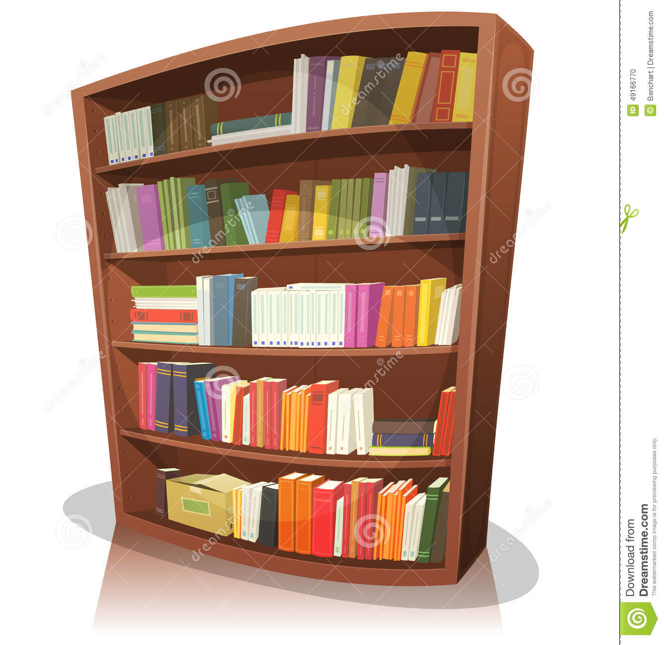 ... cartoon home, school or library store wooden bookshelf, full of books