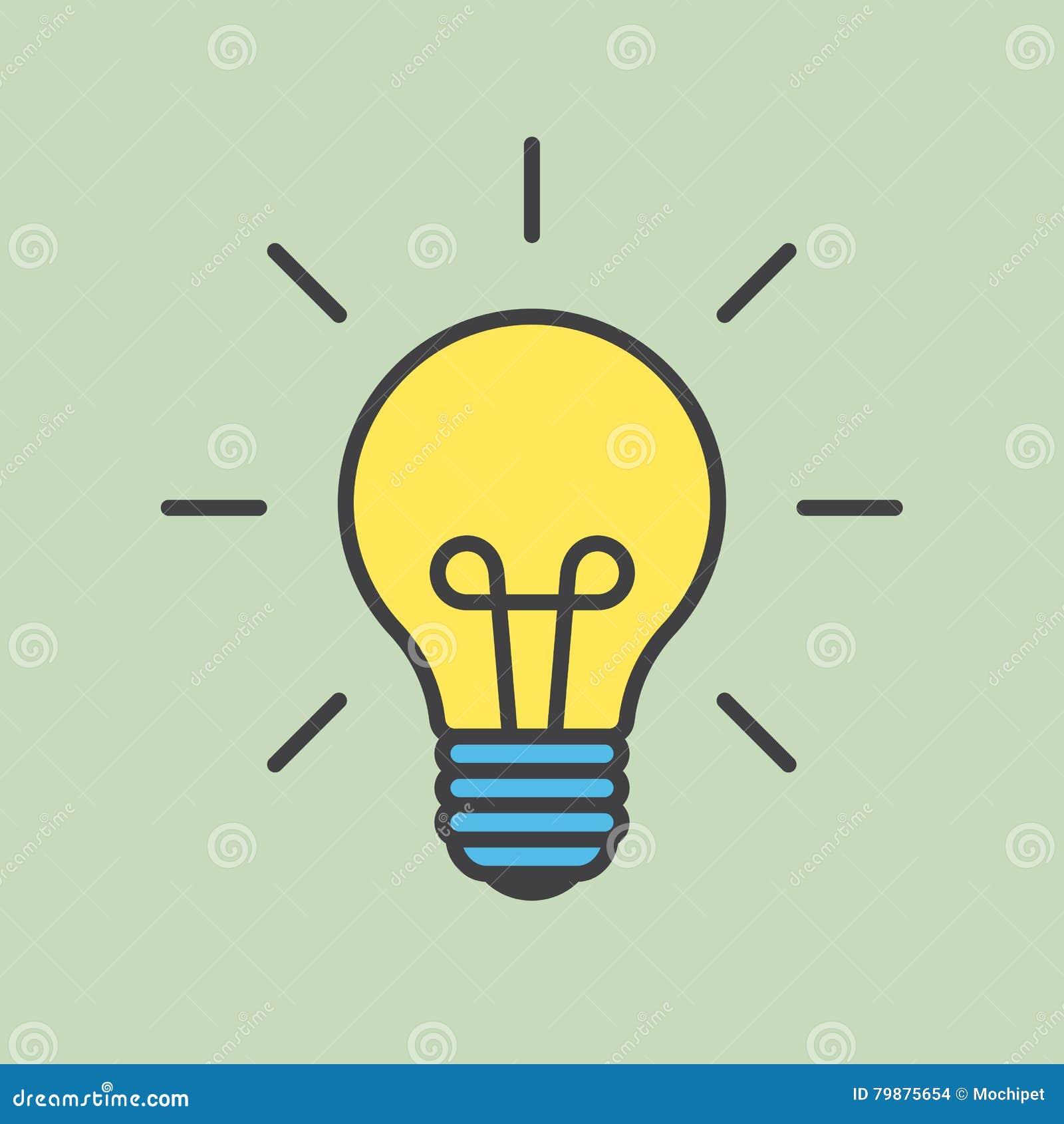 Cartoon light bulb with contour