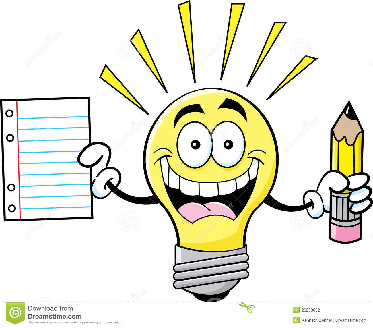 Cartoon Light Bulb Holding A Paper And Pencil Stock ...