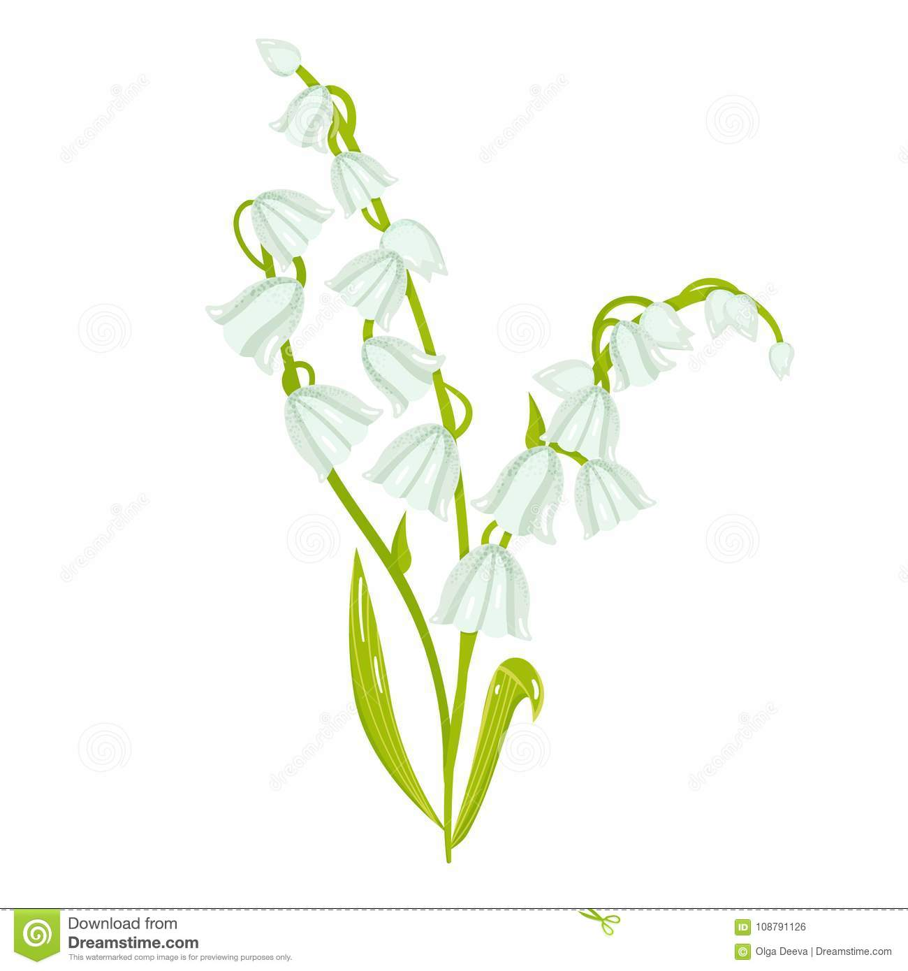 Cartoon lily of the valley spring flower illustration stock vector cartoon lily of the valley spring flower illustration stock vector illustration of element pink 108791126 izmirmasajfo