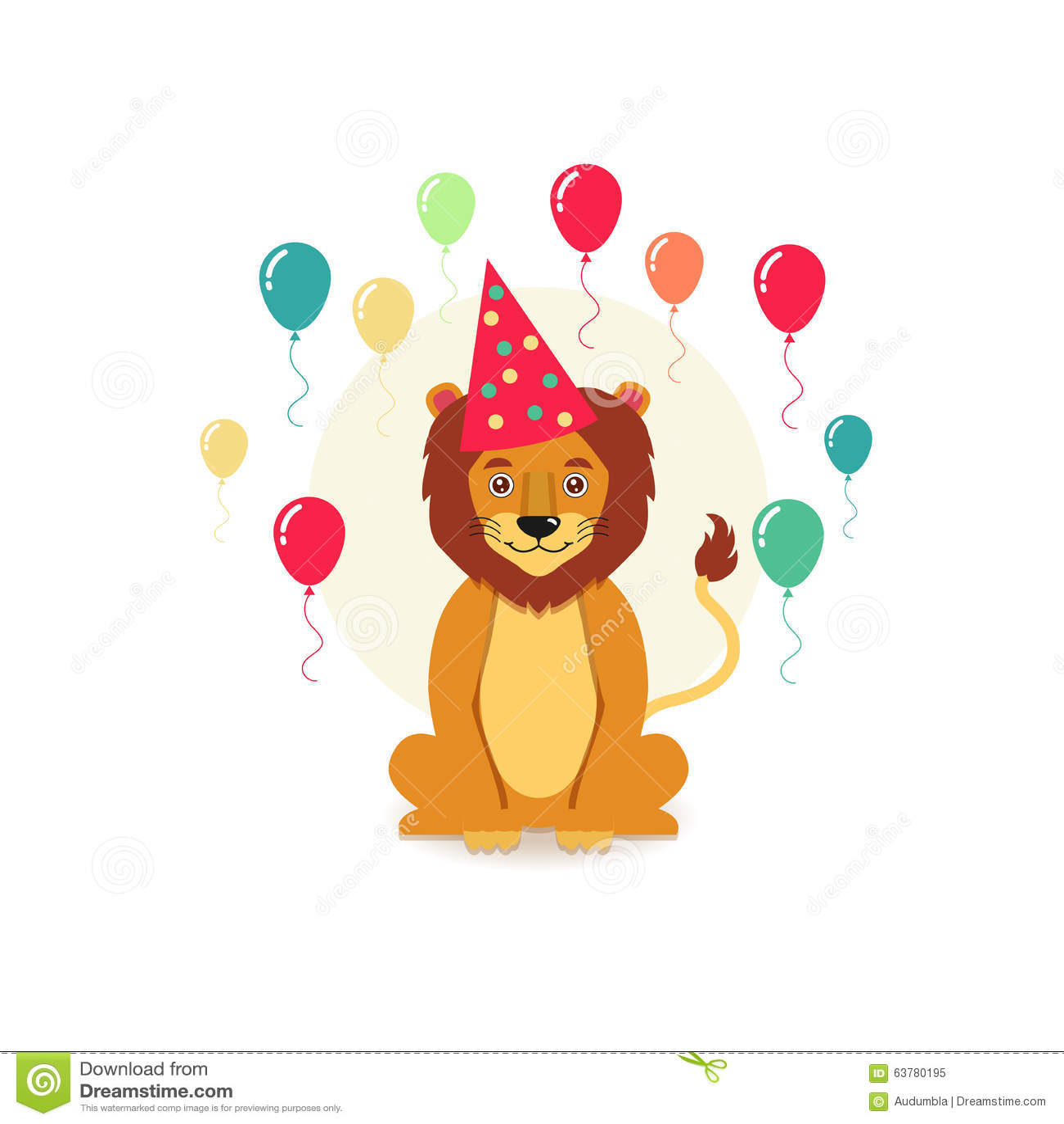 Cartoon Lion In A Birthday Hat Stock Illustration