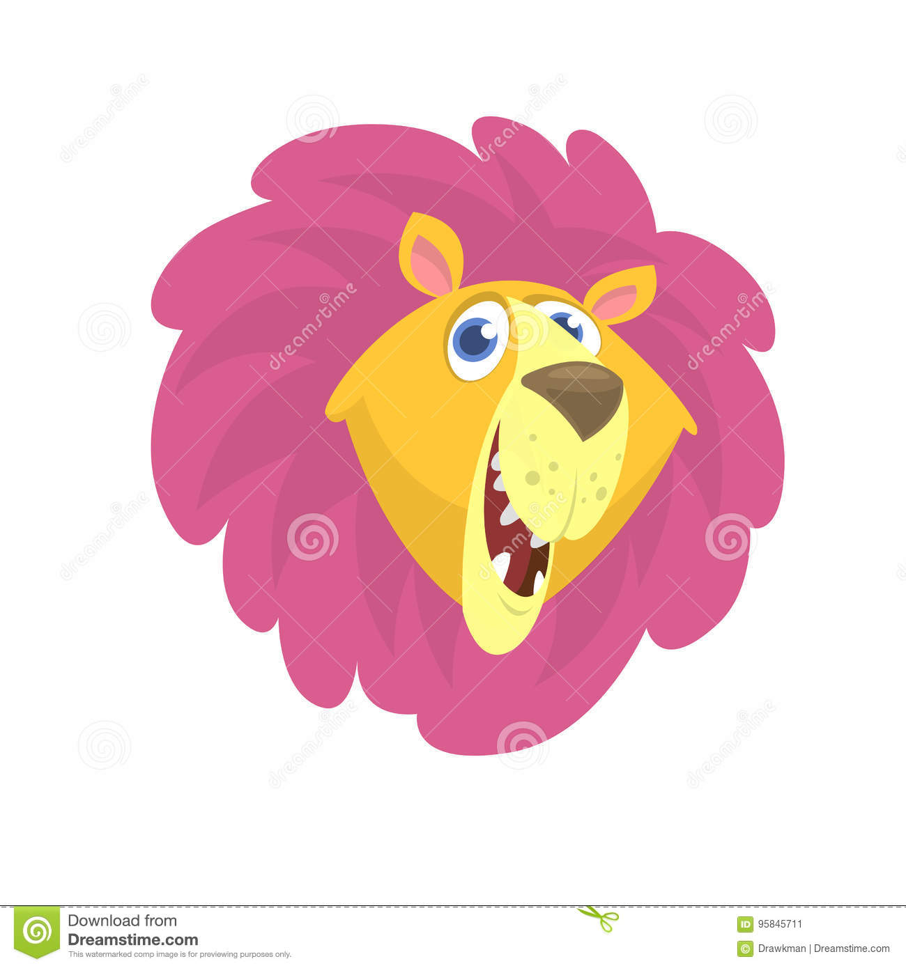 Cartoon Lion Head Icon. Flat Bright Color Simplified Vector ...