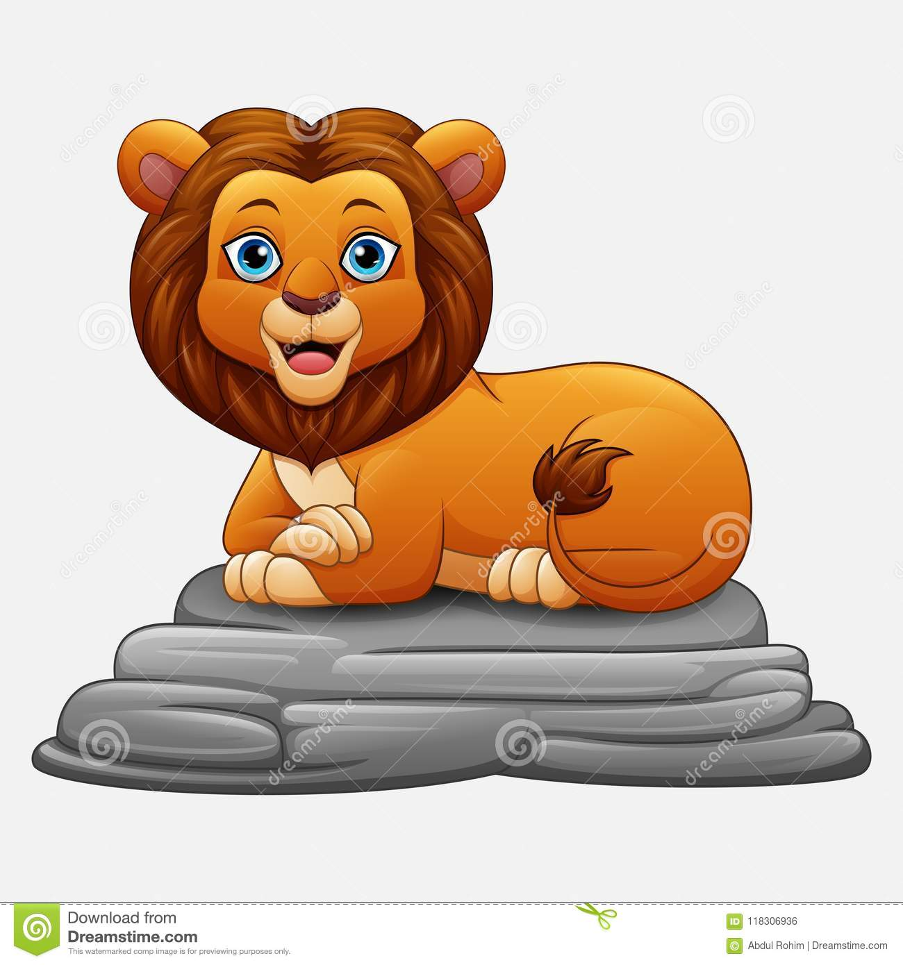 Cartoon Lion Sitting On Rock Stock Vector Illustration Of Drawing