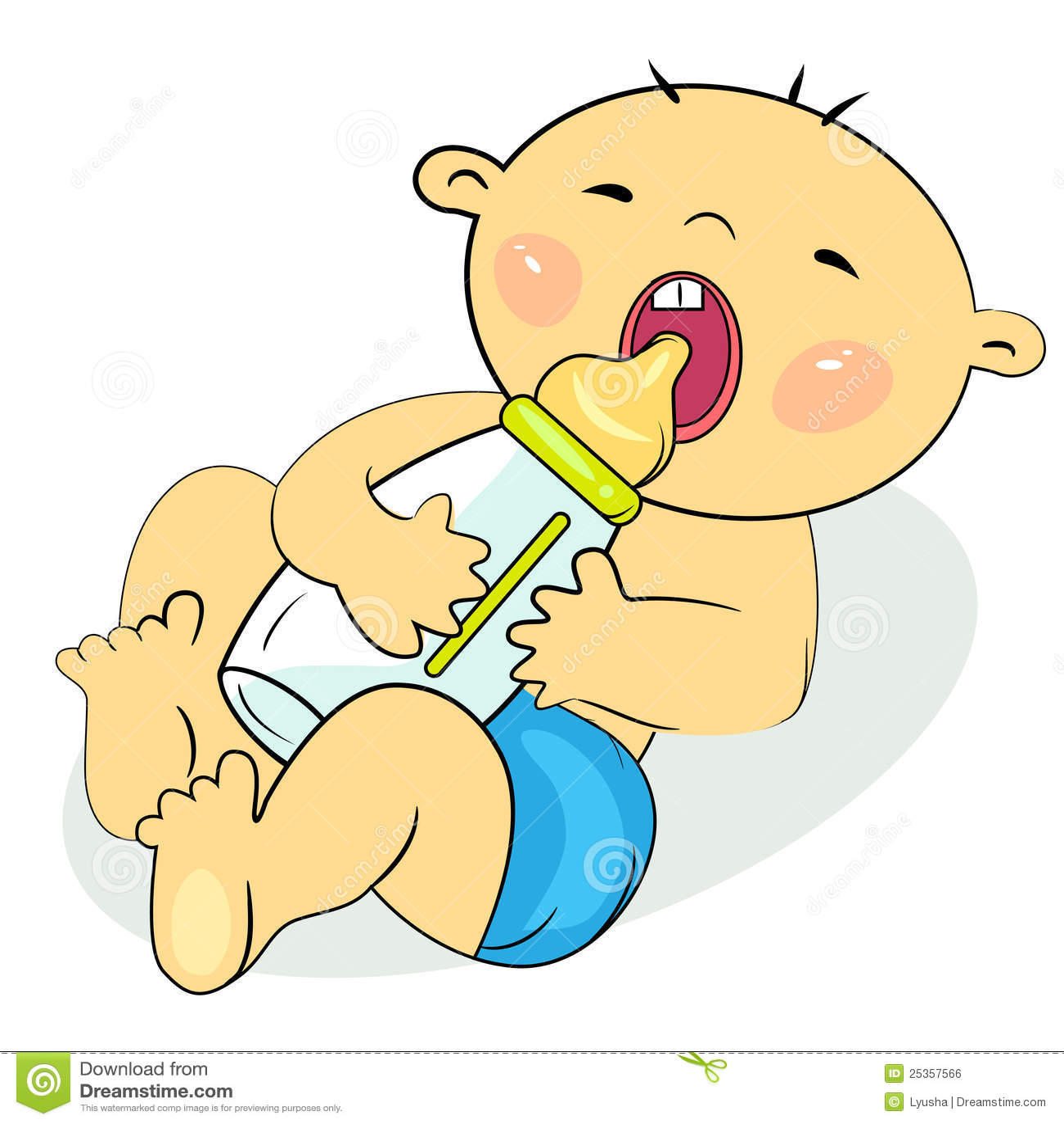 Cartoon Little Baby Eating Milk Stock Vector