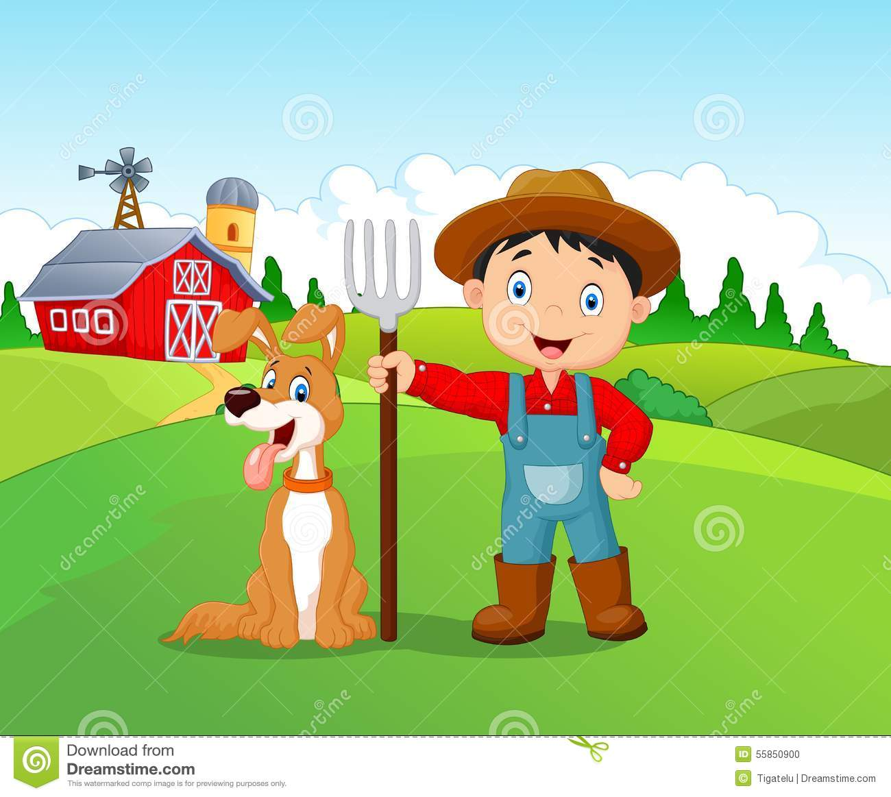 cartoon little boy and dog in the farm stock vector   image 55850900