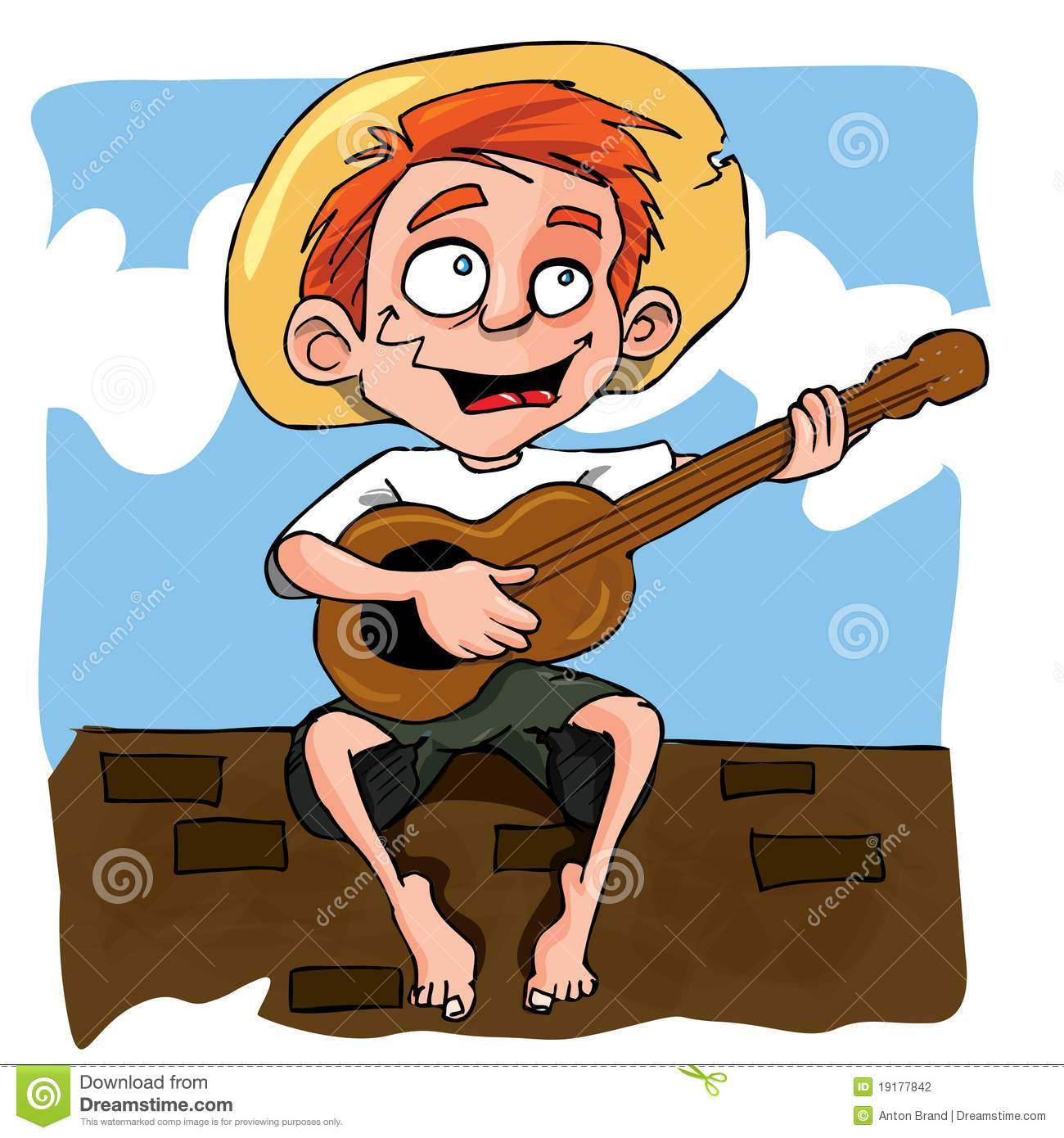 Cartoon Of Little Boy Playing Guitar Stock Photography ...