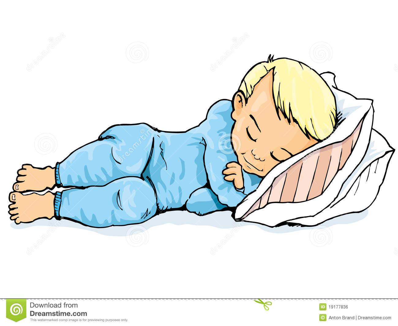 Vector Illustration Kid Sleeping Waking  Stock Vector