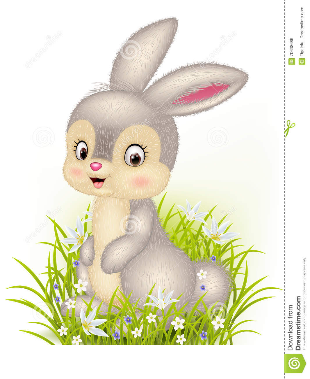 cartoon little bunny sitting on grass background stock vector