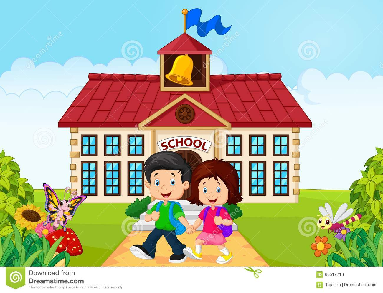 Cartoon little children leaving school stock illustration for My home pictures for kids