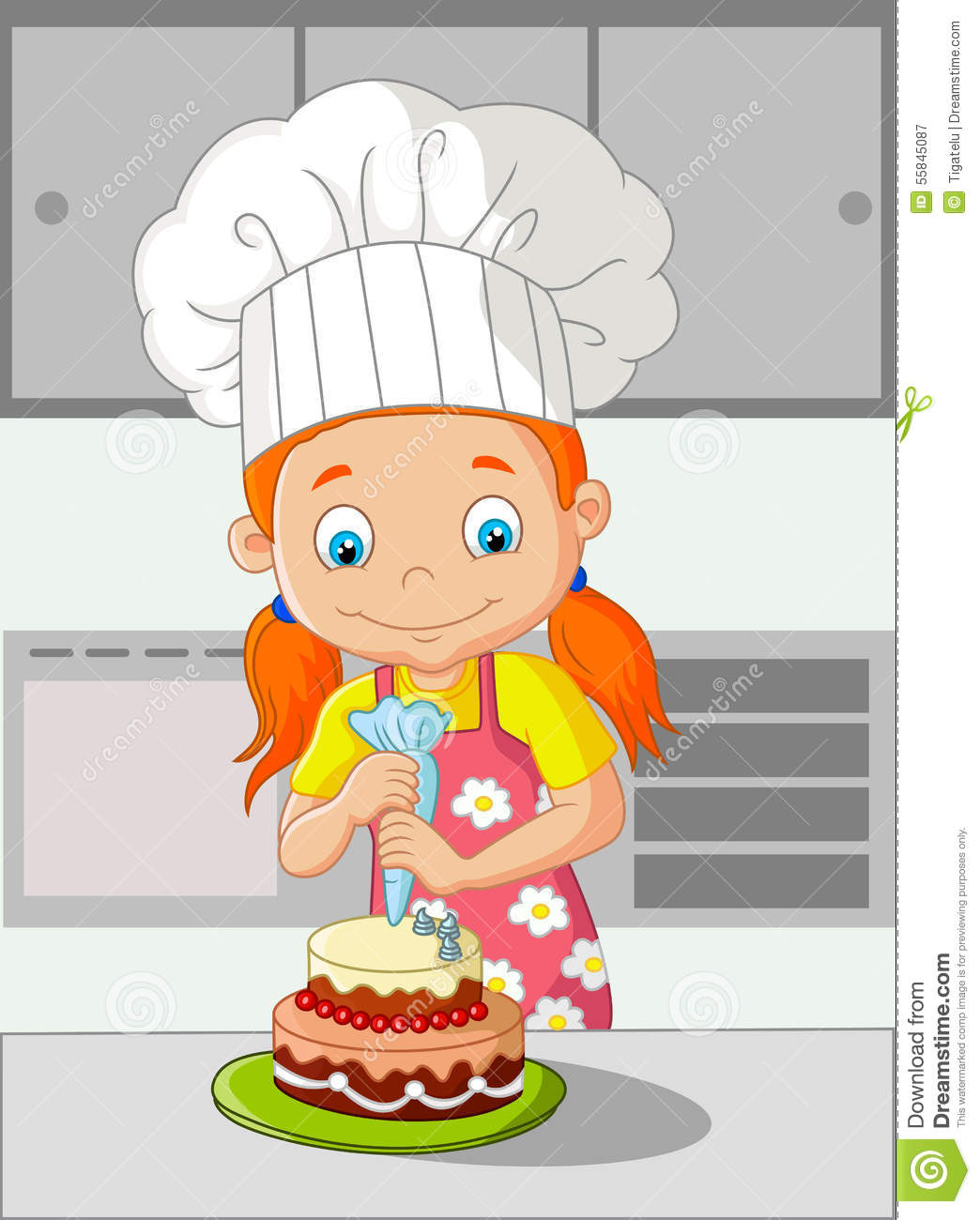 Little Girl At A Kitchen Table Cartoon