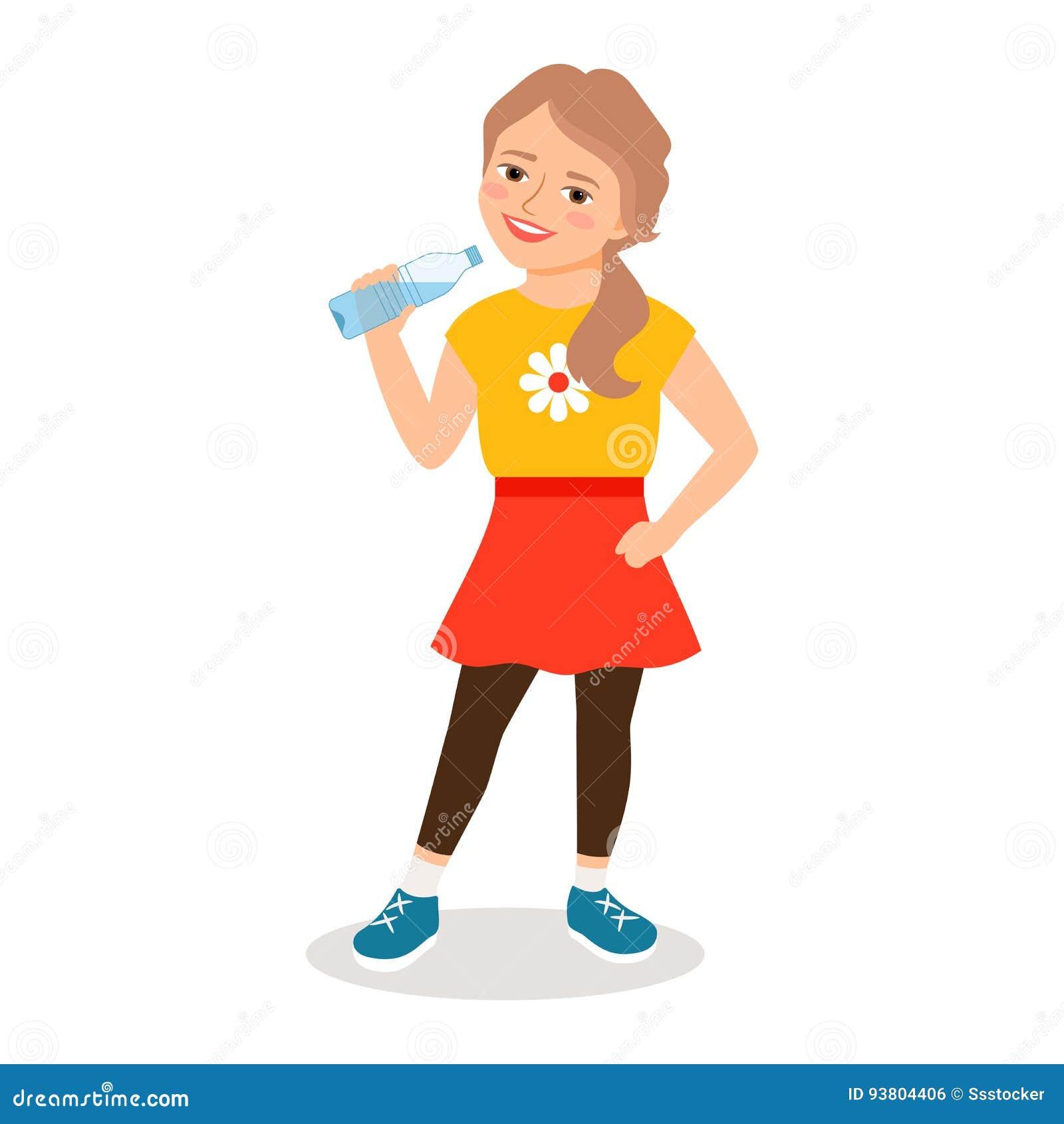 cartoon little girl drinking clean water stock vector - illustration