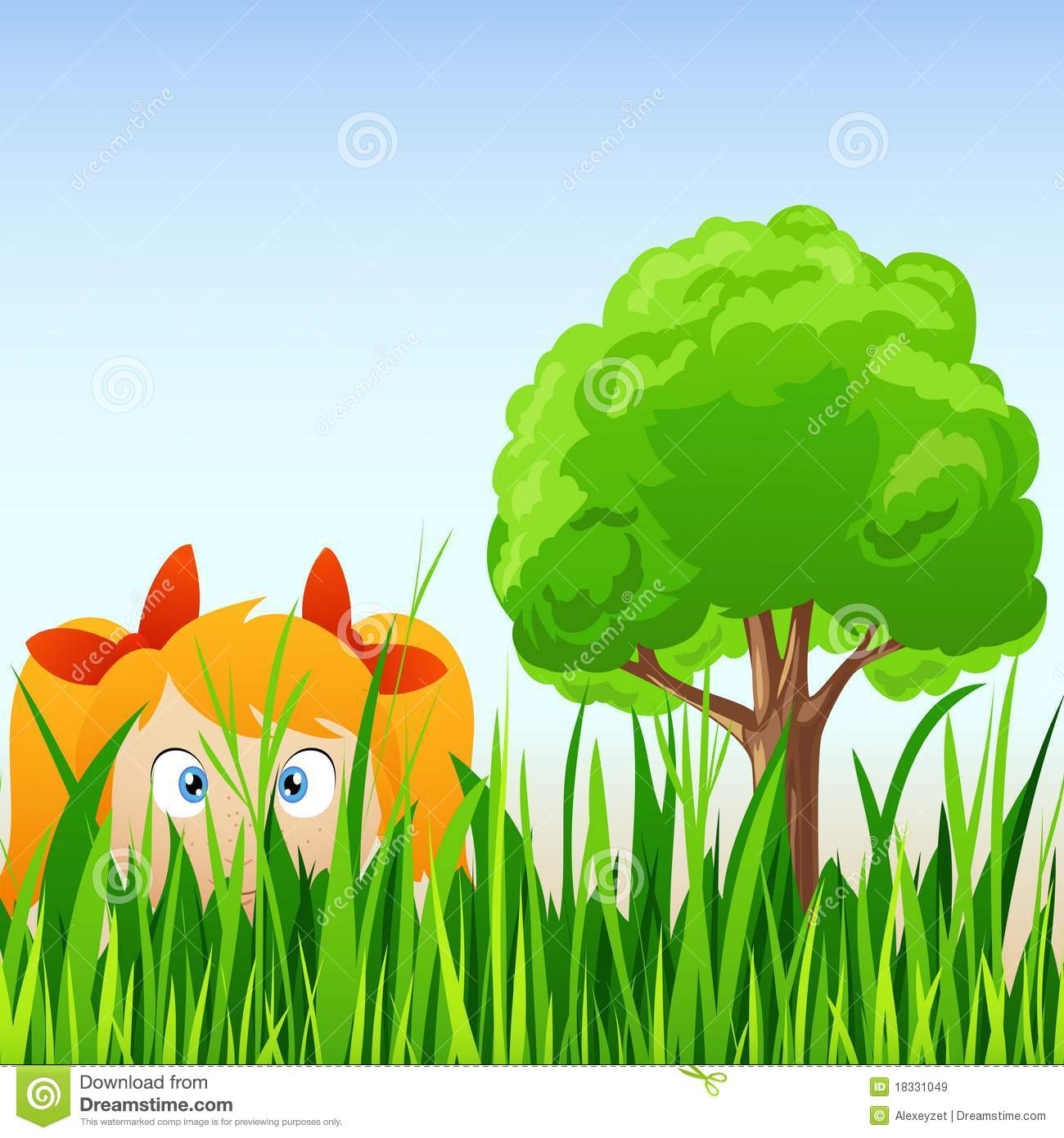 Cartoon Little Girl Hide In Grass Royalty Free Stock Images - Image ...