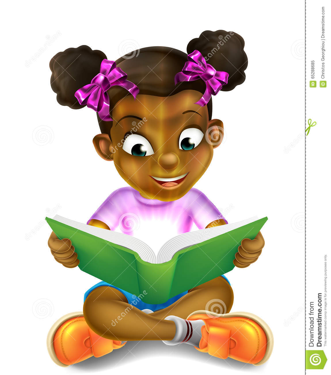 cartoon little girl reading amazing book stock vector