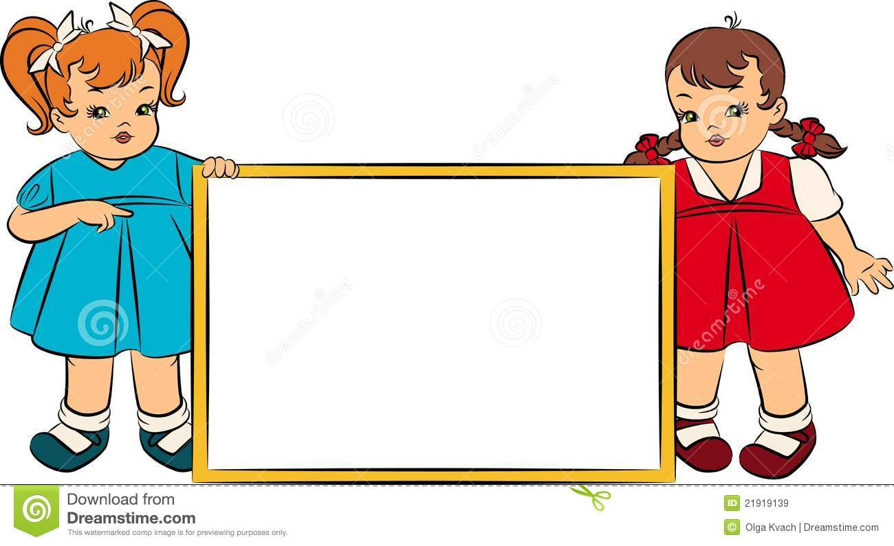 Cartoon Little Girsl With Banner Royalty Free Stock Images - Image ...