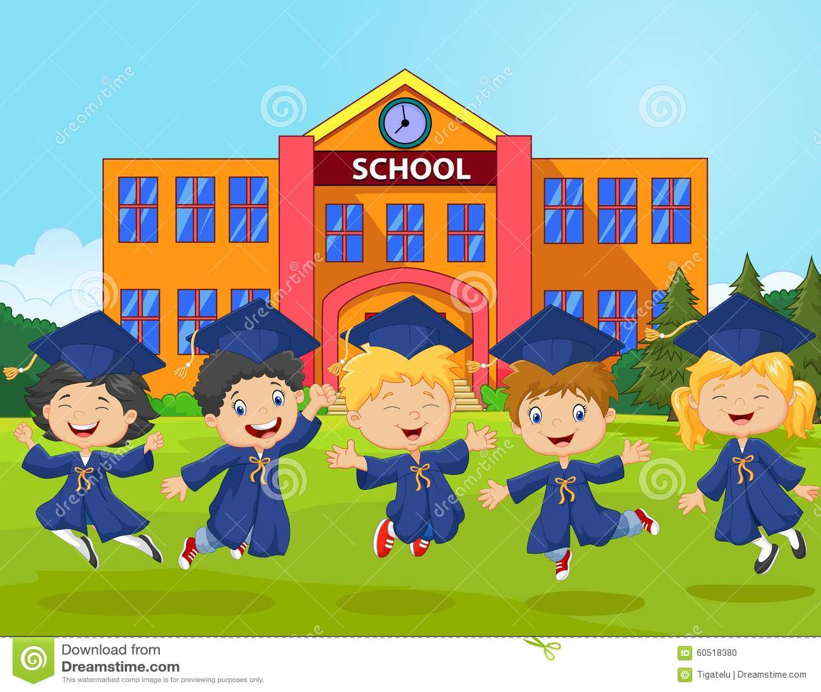 cartoon little kids celebrate their graduation on school