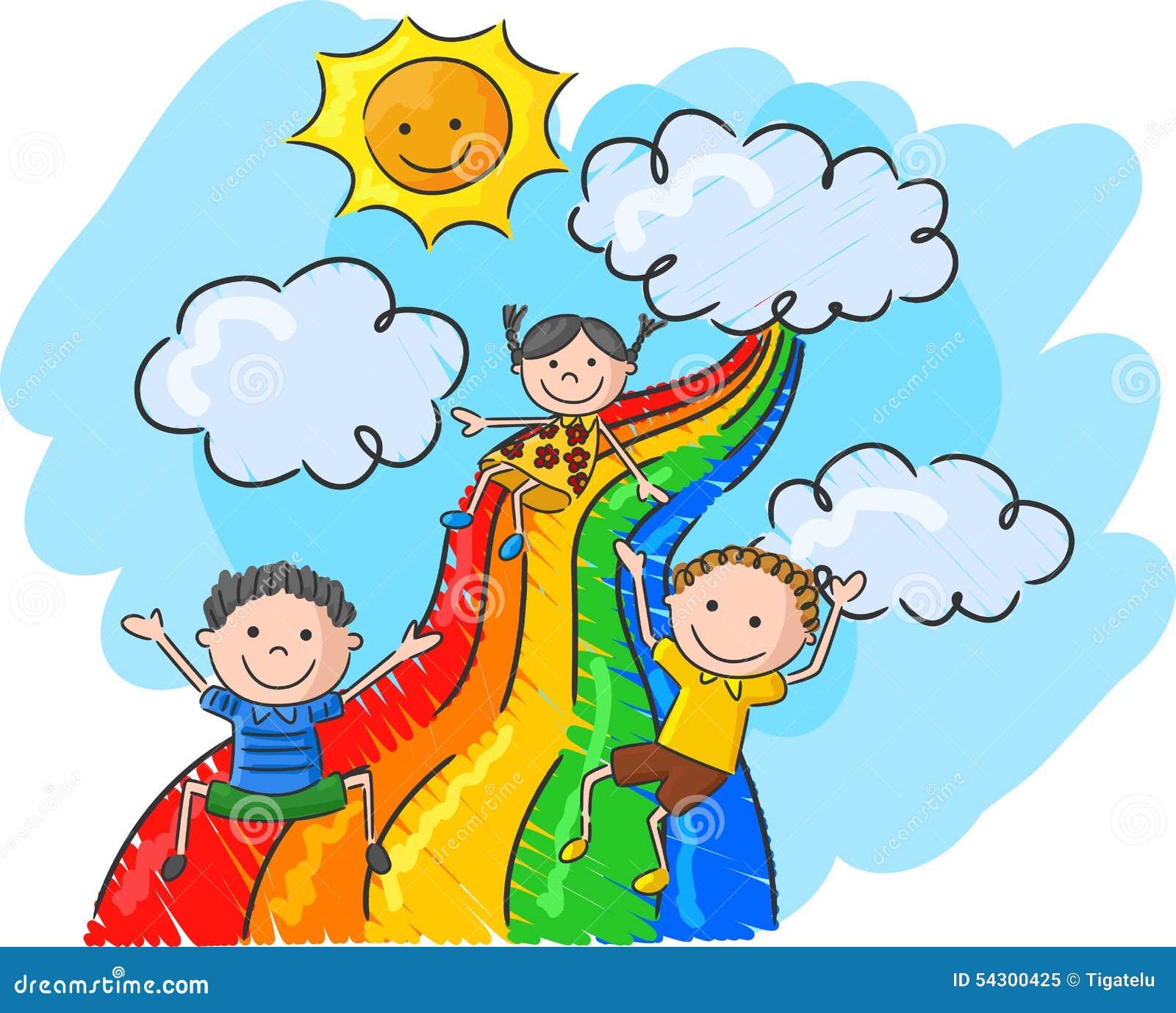 Cartoon Little Kids Playing Slide Rainbow Stock Vector ...