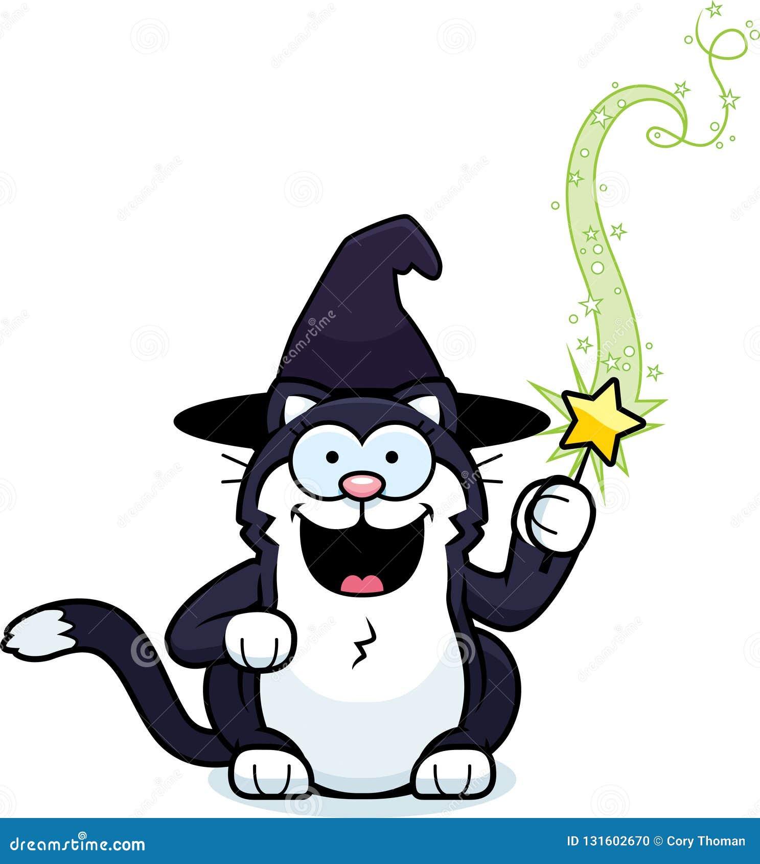 Cartoon Little Witch Cat Magic