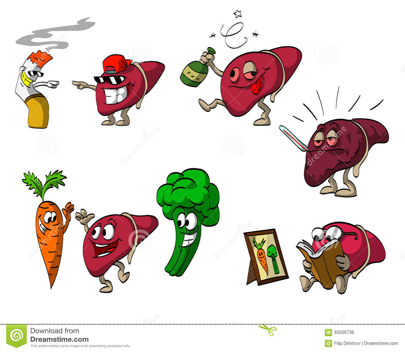Cartoon vector illustrations of Liver character, meeting with bad and ...