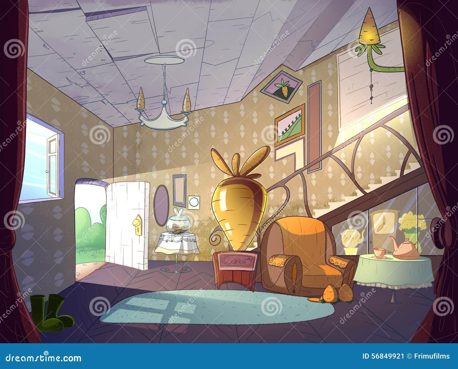 Cartoon Living Room Interior Stock Illustration Image