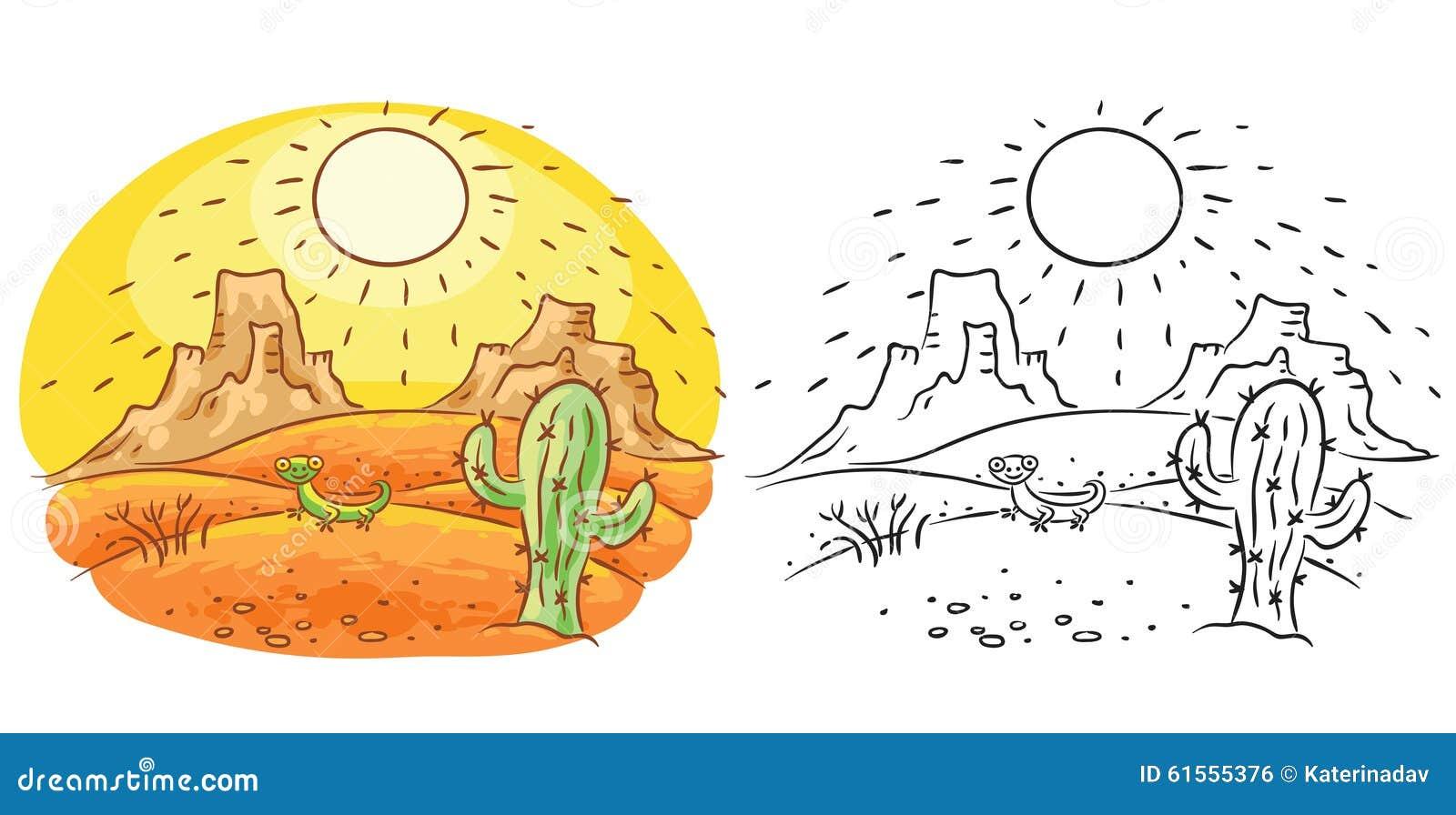 Cartoon Lizard And Cactus In The Desert, Cartoon Drawing ...