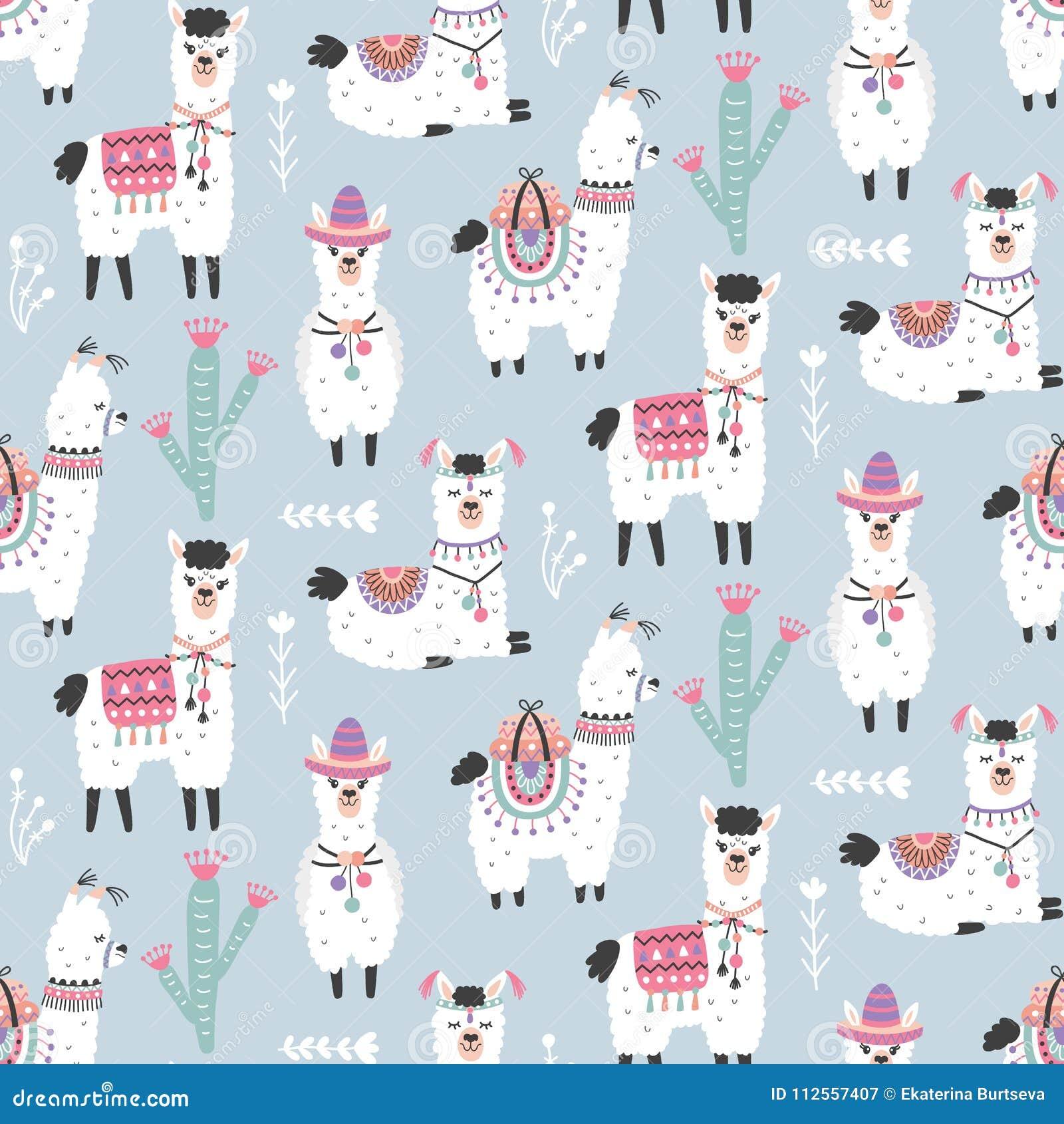 Llama Wallpaper: Cartoon Llama Alpaca Seamless Pattern Stock Vector