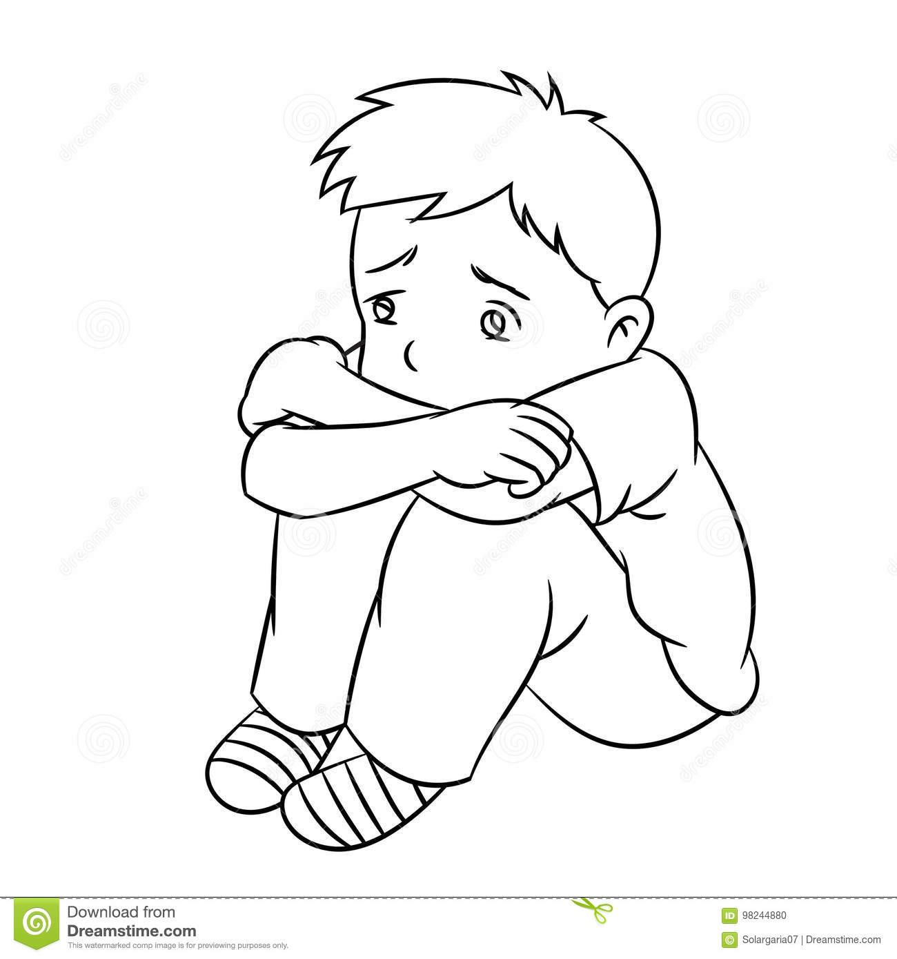 Line Drawing Year : Cartoon lonely boy line drawn vector stock
