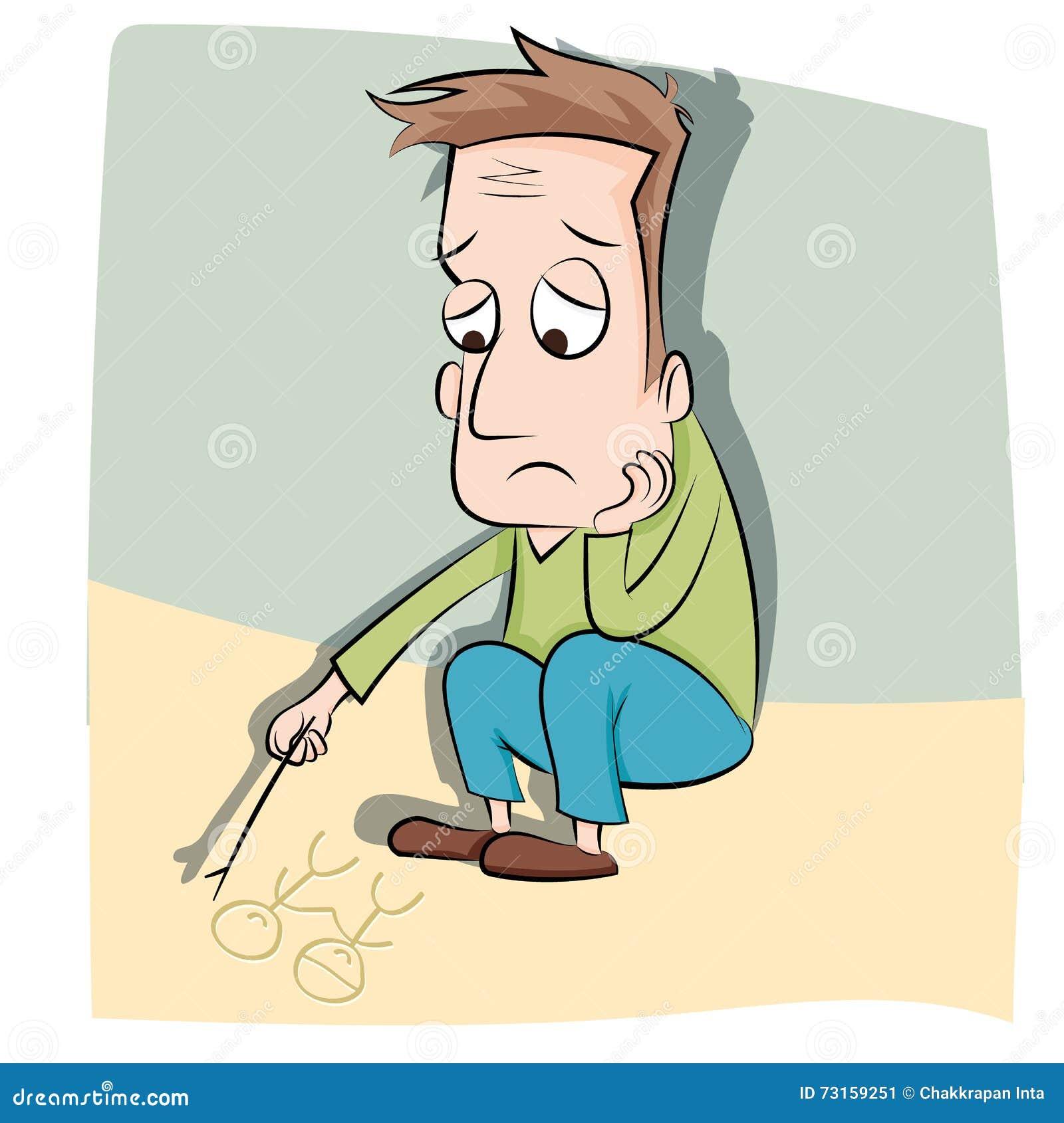 Cartoon lonely man