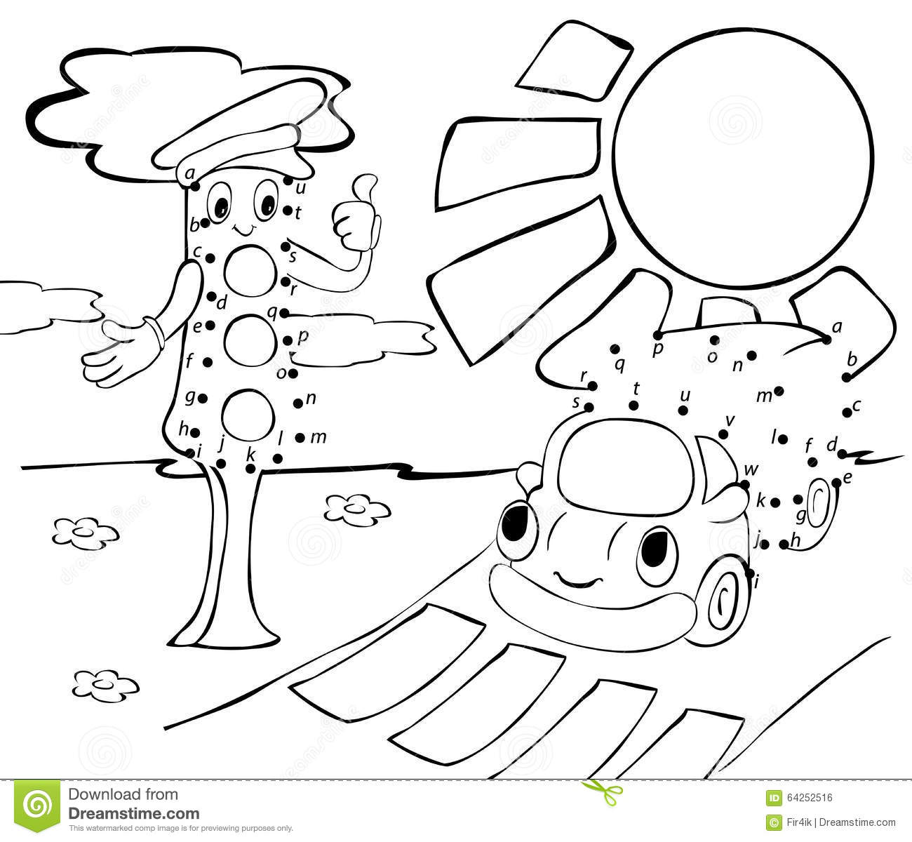 cartoon car  traffic lights and sun  vector illustration