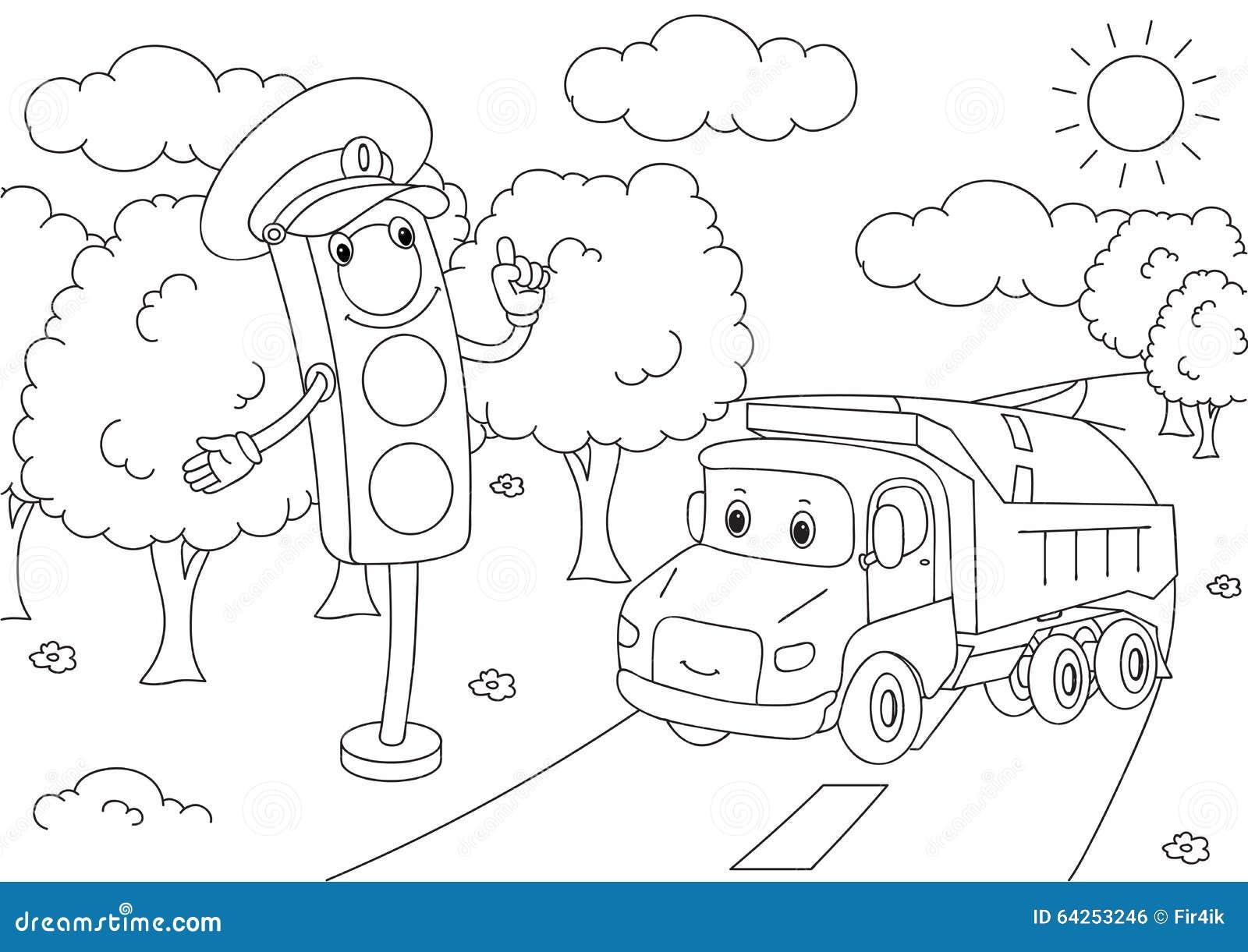 cartoon lorry with traffic lights  vector illustration stock vector