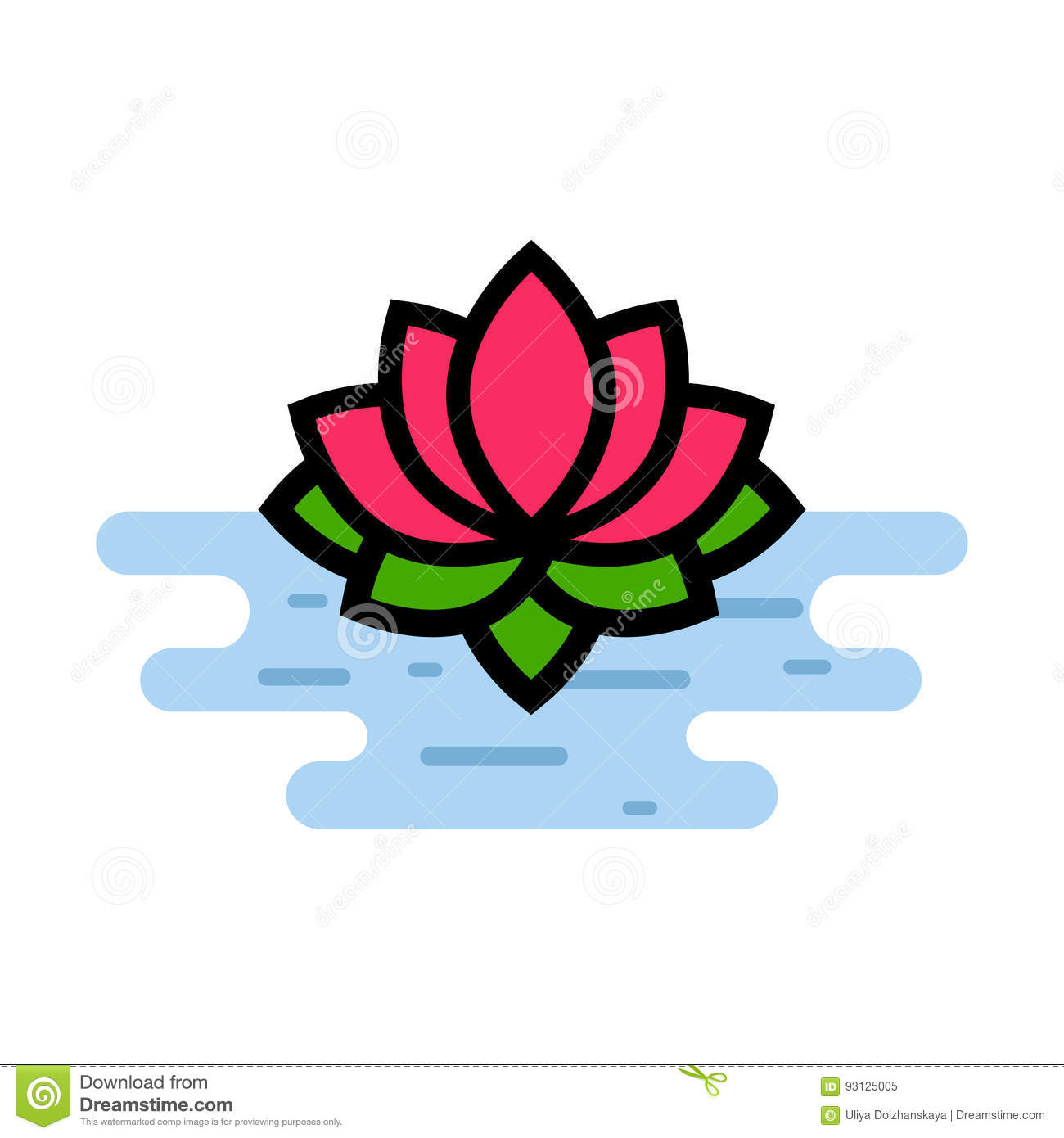Cartoon Lotus On The Water Stock Vector Illustration Of Flower