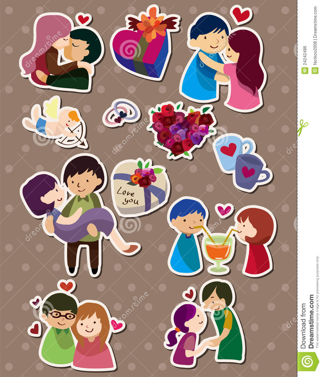 cartoon love stickers stock vector illustration of heart 24242486
