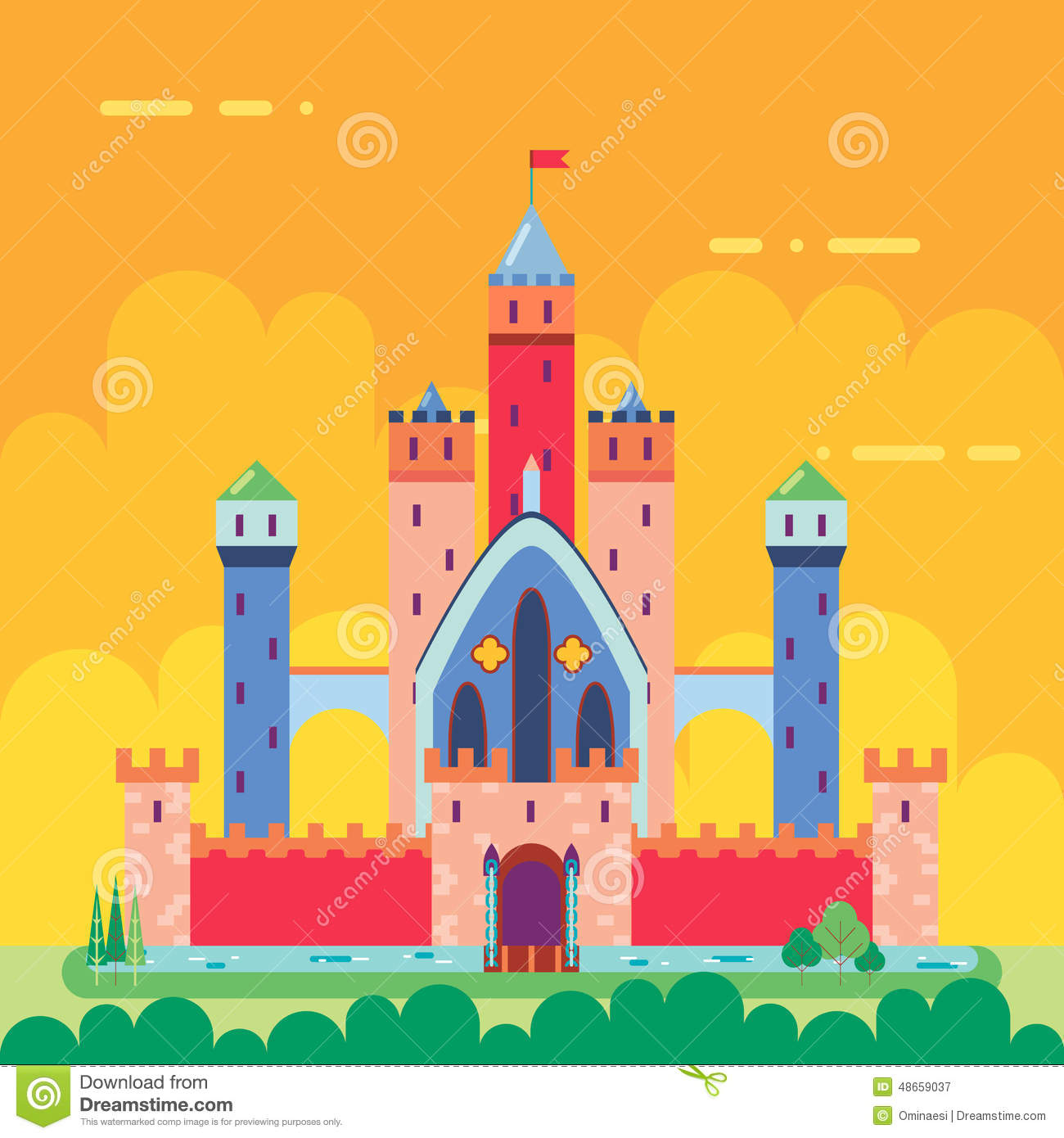 Cartoon magic fairytale castle flat design icon stock Design a castle online