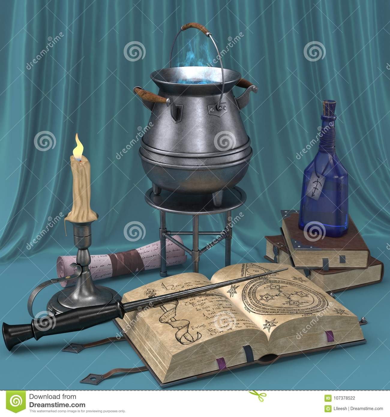 Cartoon Magical Still Life With Pictures Of Books, Candles