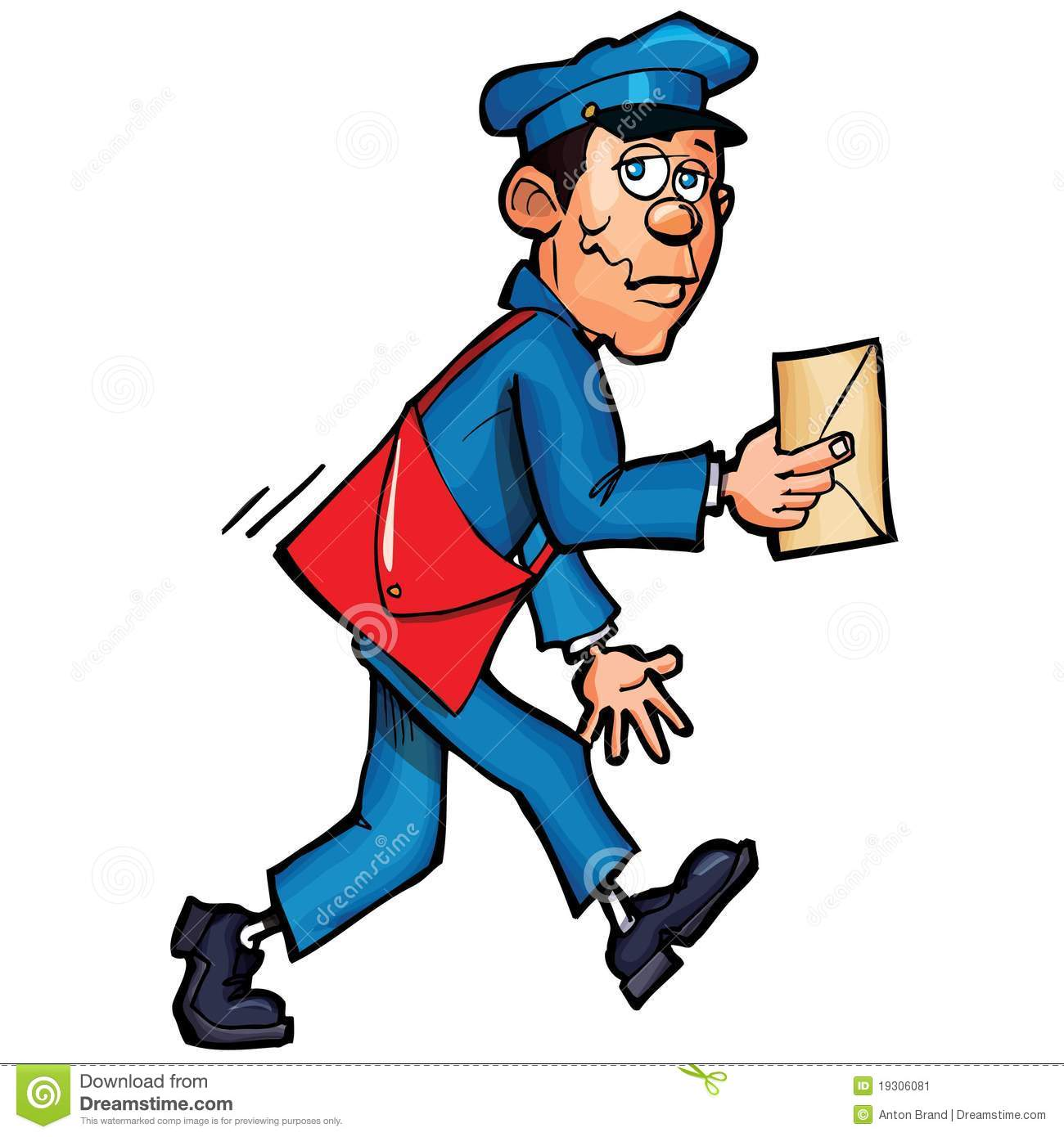 Cartoon Mailman Delivering Mail Stock Image - Image: 19306081