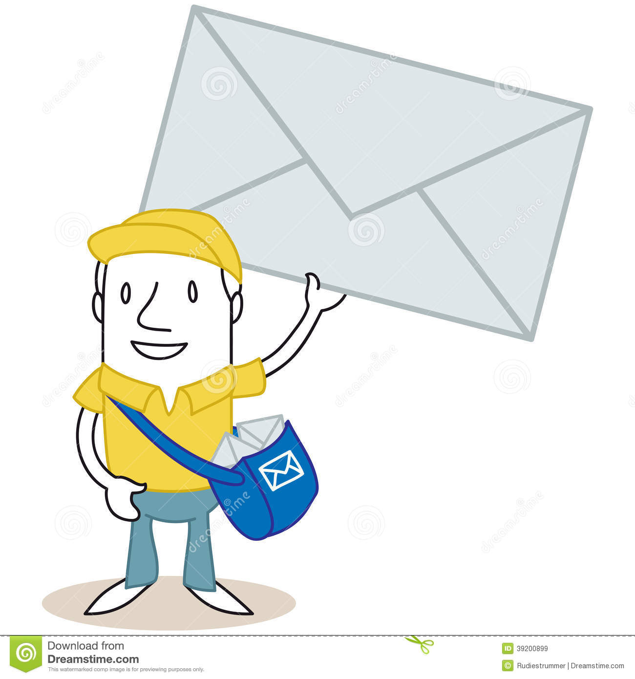 Cartoon Mailman Holding Up Huge Envelope Stock Vector ...